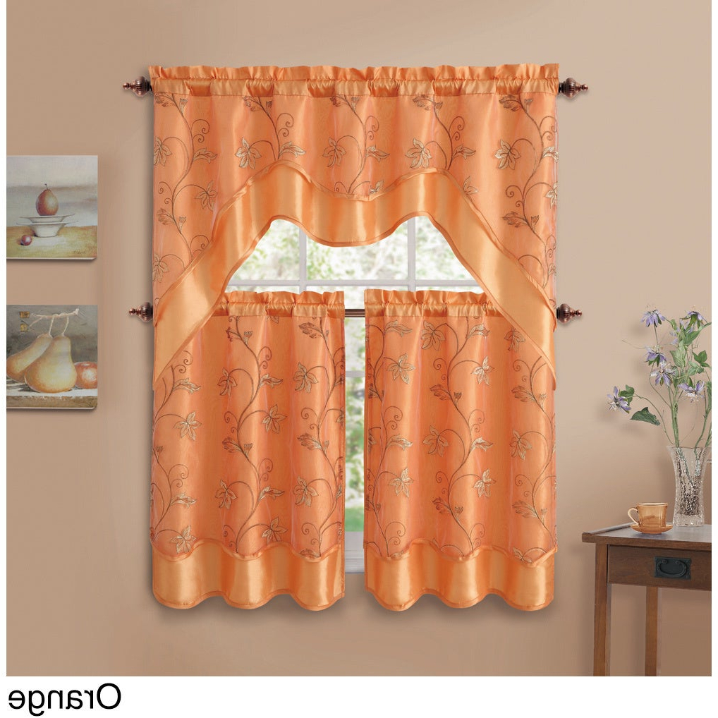 Vcny Audrey 3 Piece Kitchen Tier Curtain Set Intended For Most Recently Released Twill 3 Piece Kitchen Curtain Tier Sets (View 17 of 20)