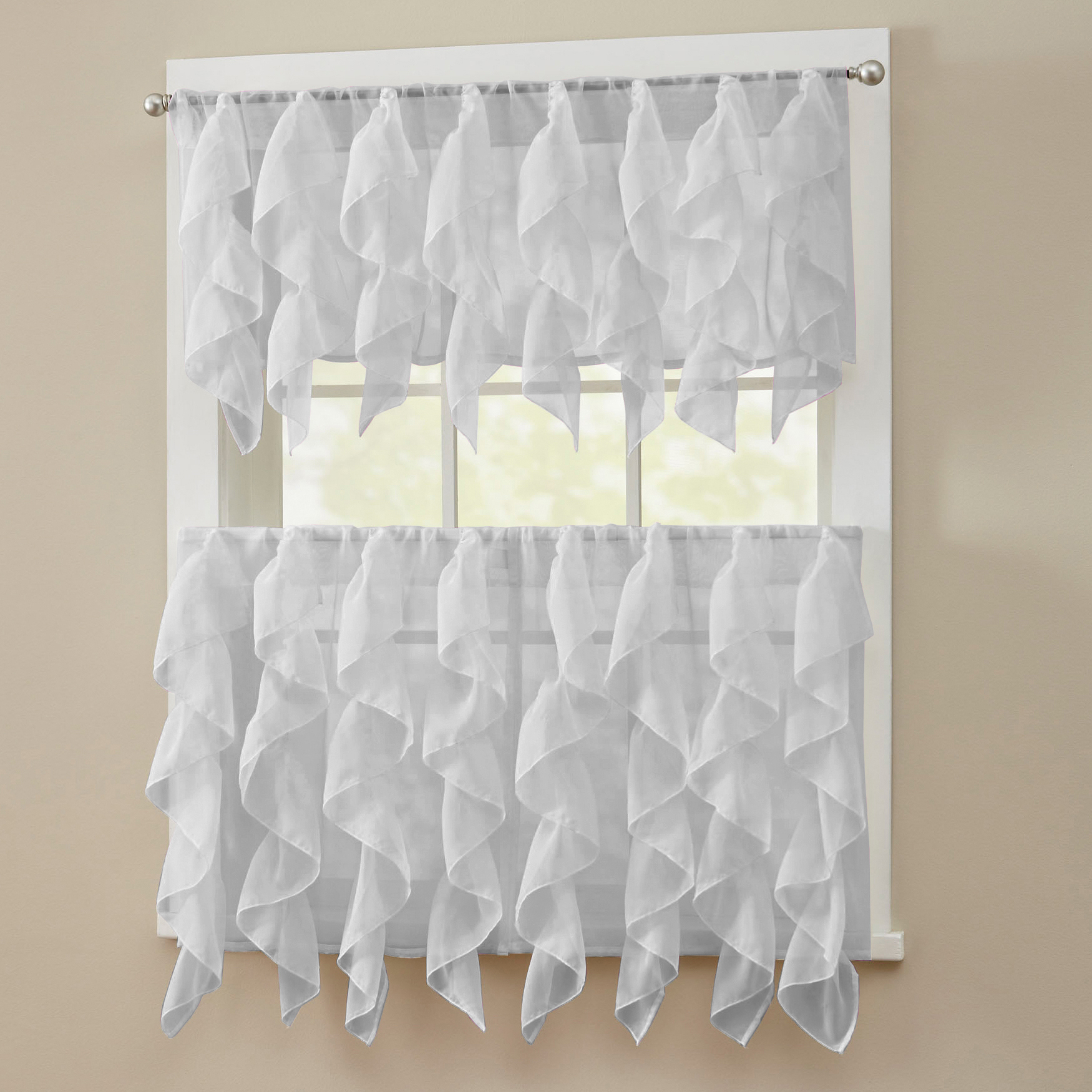 Vertical Ruffled Waterfall Valance And Curtain Tiers In Most Current Details About Sheer Voile Vertical Ruffle Window Kitchen Curtain Tiers Or Valance Silver (View 6 of 20)