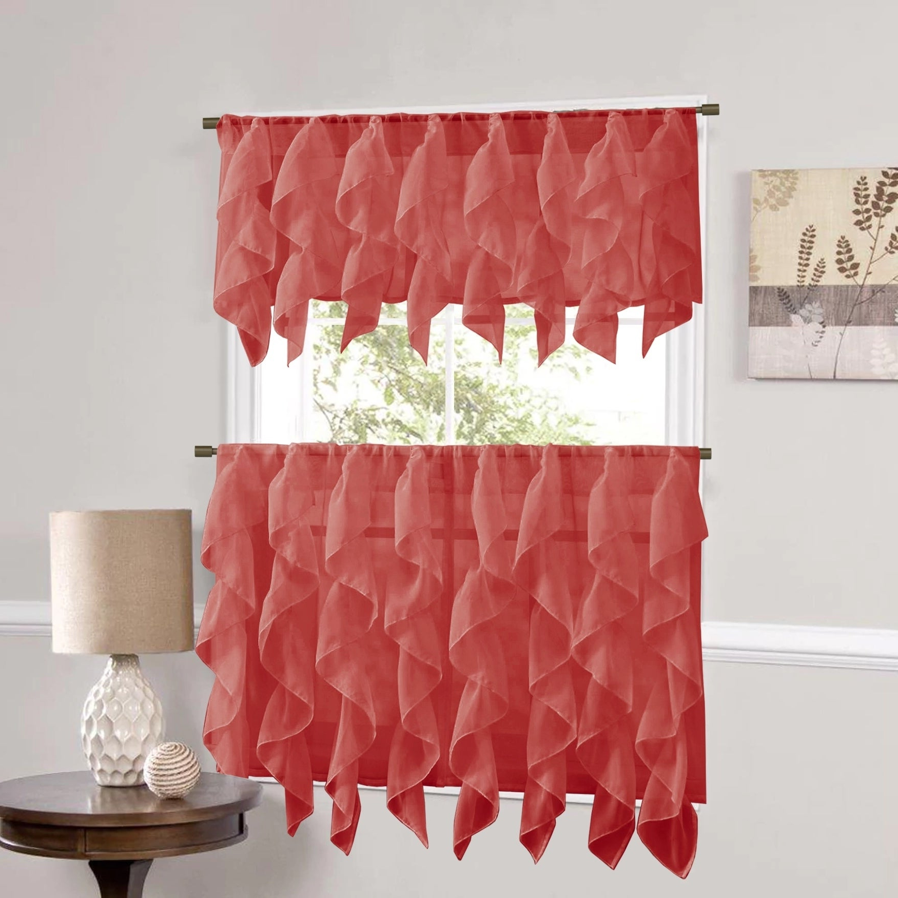 Vertical Ruffled Waterfall Valance And Curtain Tiers With Widely Used Sweet Home Collection Burgundy Vertical Ruffled Waterfall Valance And Curtain Tiers (View 4 of 20)