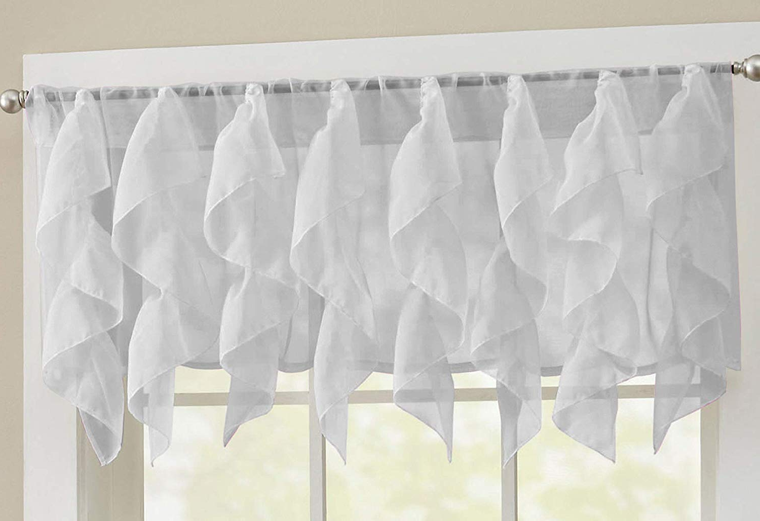 "Vertical Ruffled Waterfall Valances And Curtain Tiers For Most Popular Sweet Home Collection Veritcal Kitchen Curtain Sheer Cascading Ruffle Waterfall Window Treatment – Choice Of Valance, 24"" Or 36"" Teir, And Kit Silver (View 16 of 20)"