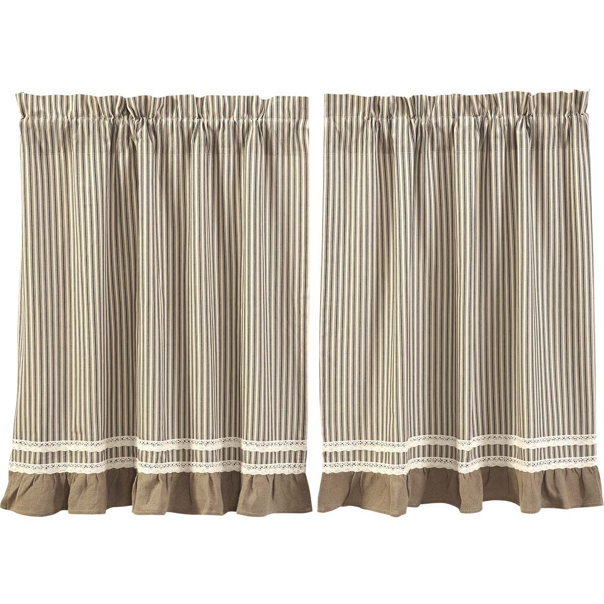 Vhc Brands Classic Country Farmhouse Kitchen Window Curtains Kendra Stripe White Tier Pair, L36 X W36, Red Regarding Widely Used Rod Pocket Cotton Striped Lace Cotton Burlap Kitchen Curtains (View 9 of 20)