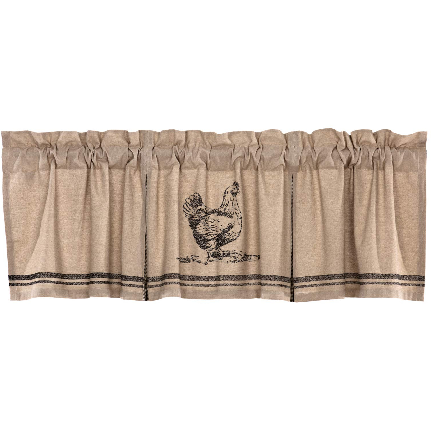 Vhc Brands Farmhouse Kitchen Curtains Sawyer Mill Chicken Rod Pocket Cotton Hanging Loops Stenciled Chambray Nature Print 20x72 Valance Charcoal Khaki With Favorite Rod Pocket Cotton Striped Lace Cotton Burlap Kitchen Curtains (View 12 of 20)