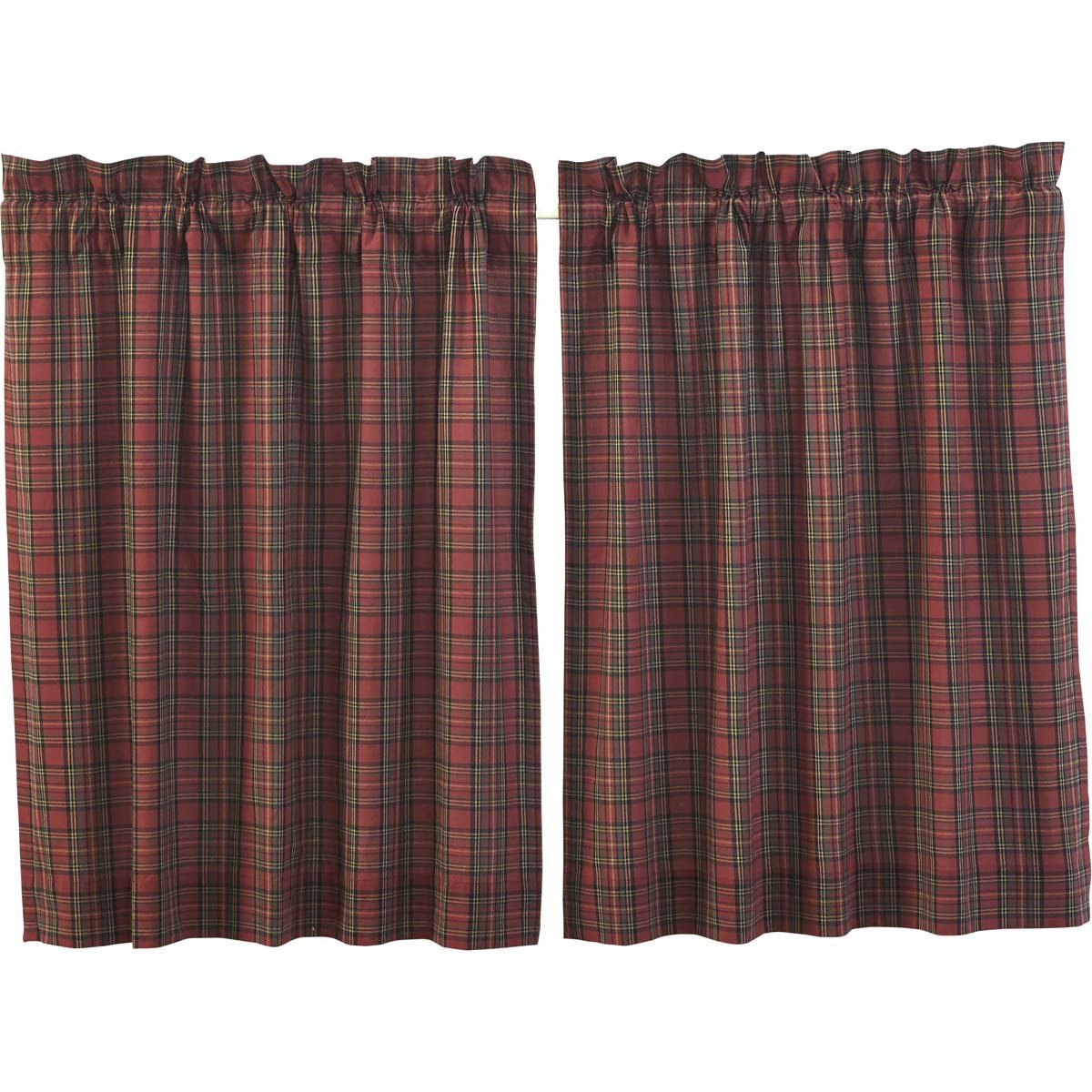 Vhc Brands Primitive Rustic & Lodge Kitchen Window Curtains Tartan Plaid  Red Tier Pair L24 X W36 Regarding Recent Red Primitive Kitchen Curtains (View 16 of 20)