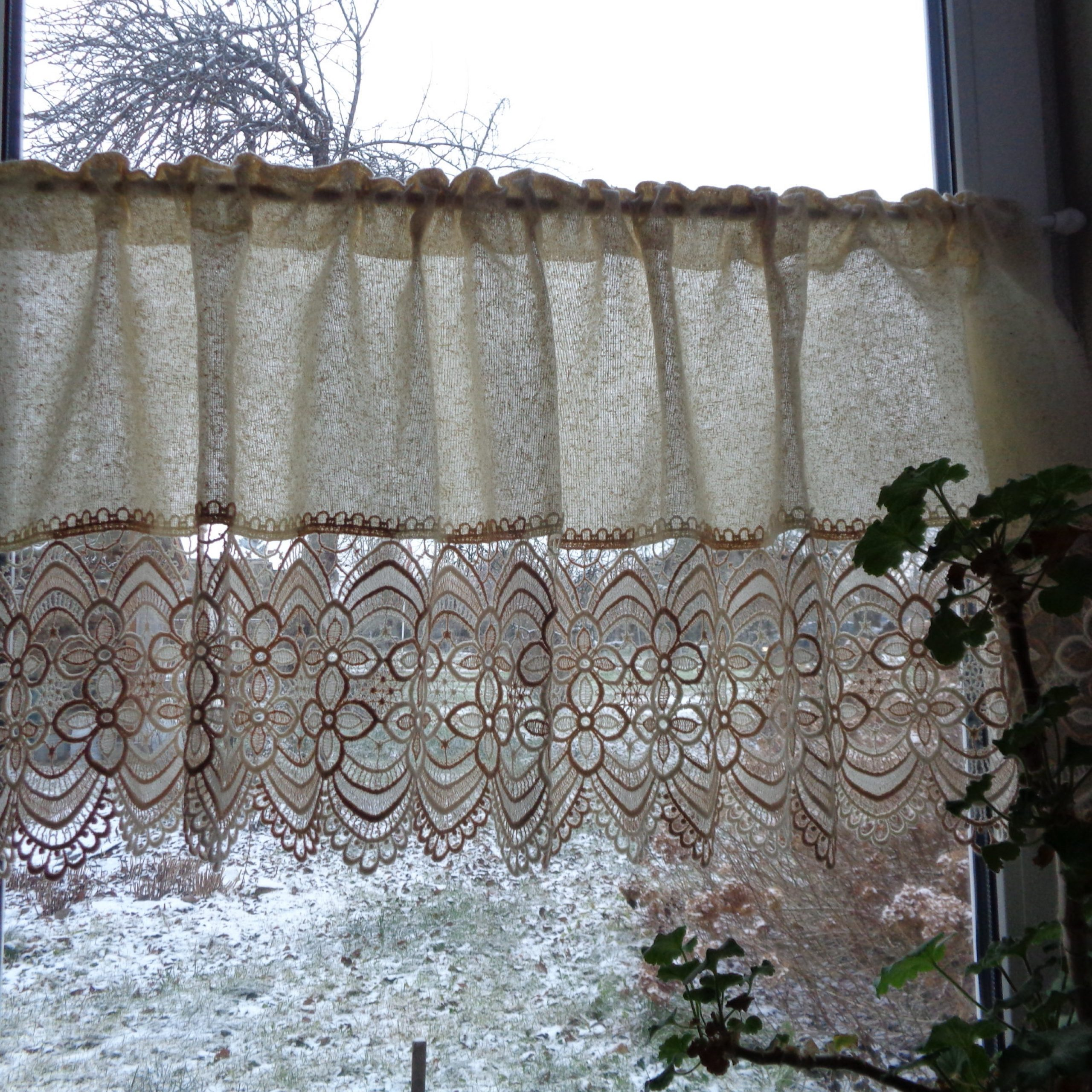 """Vintage Fabric & Lace Curtain; Beige Privacy Curtain With Venice Lace H22""""x W56"""" Rustic Curtain, Kitchen Curtain; Cottage Chic Curtain Inside Current Ivory Knit Lace Bird Motif Window Curtain (View 16 of 20)"""