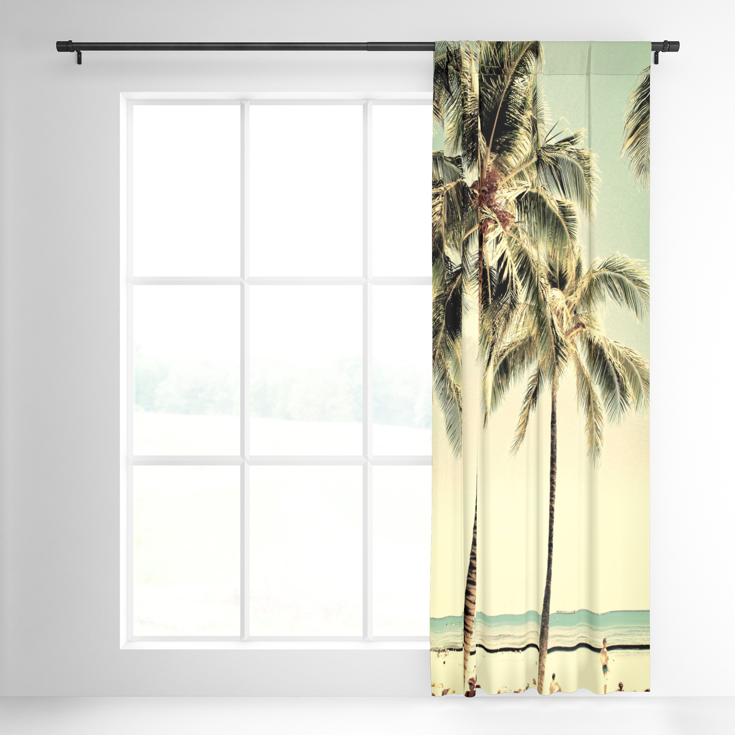 Vintage Sea Shore All Over Printed Window Curtains Inside Latest Retro Vintage Palm Tree With Hawaii Summer Sea Beach Blackout Curtain Lifeisbeautiful (View 16 of 20)