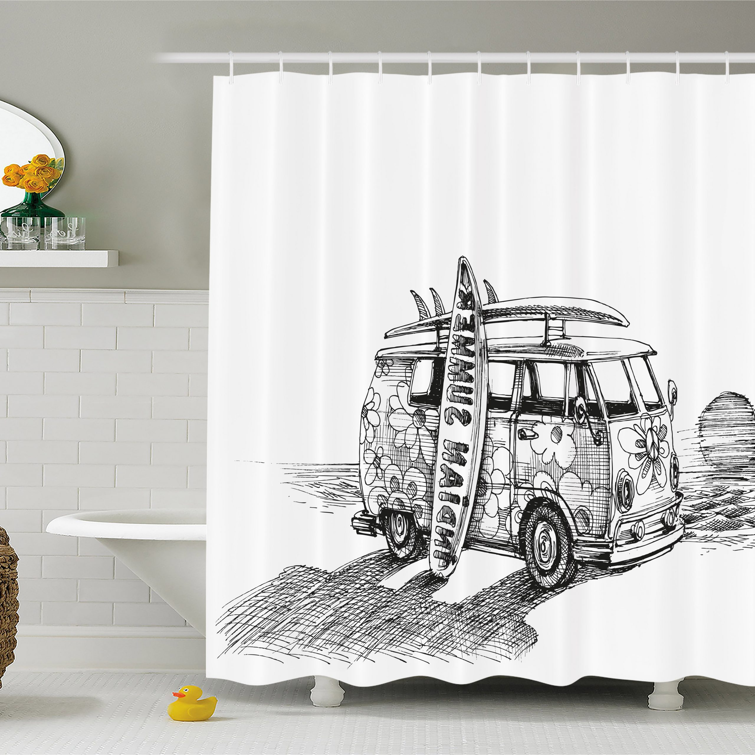 Vintage Sea Shore All Over Printed Window Curtains Pertaining To Preferred Sketchy Shower Curtain, Hot Summer Californian Surfing Vintage Car Sea Shore Beach Art, Fabric Bathroom Set With Hooks, Black White And Charcoal Grey, (View 12 of 20)