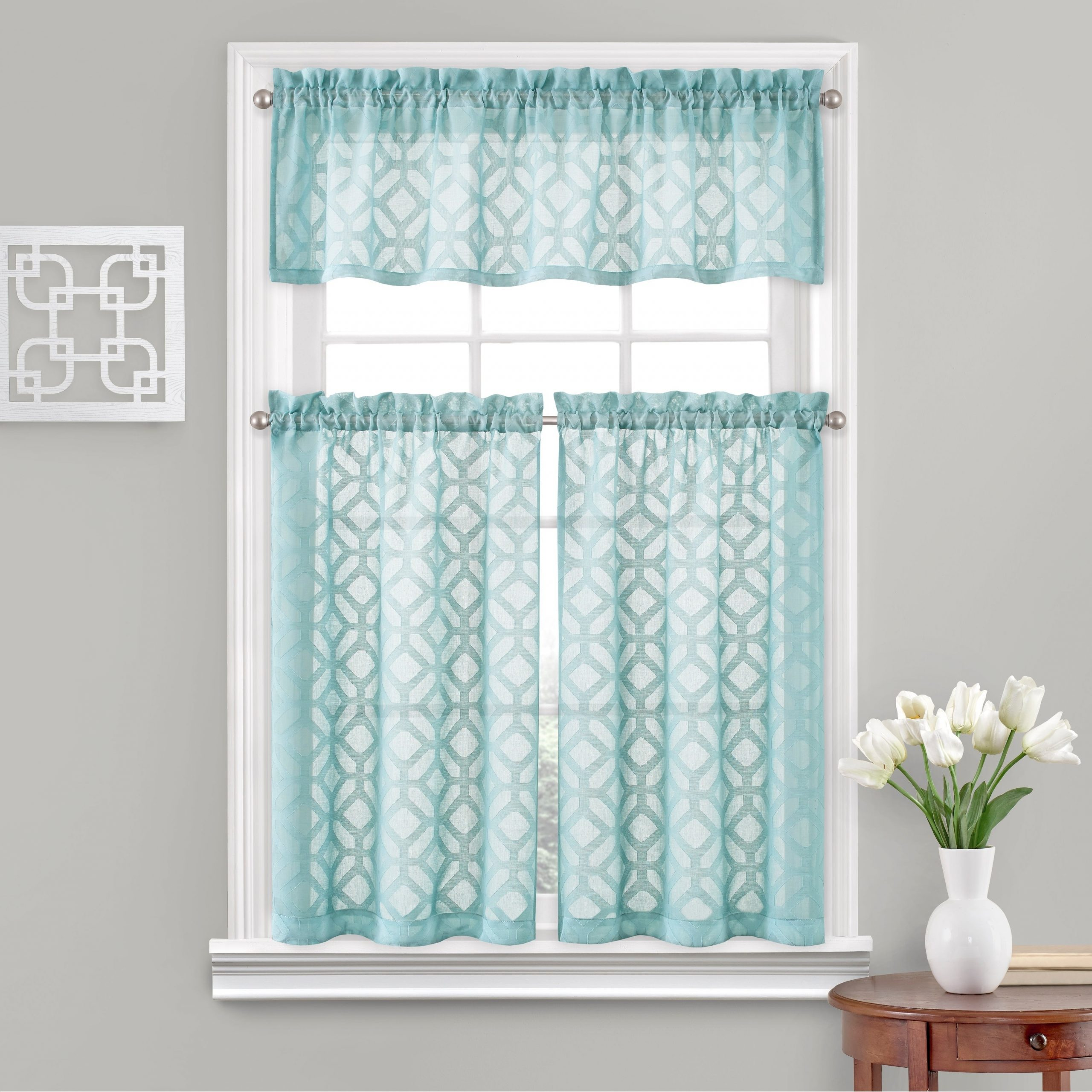 Vue Window Solutions Trellis Clip Tier Pair For Well Known White Tone On Tone Raised Microcheck Semisheer Window Curtain Pieces (View 13 of 20)