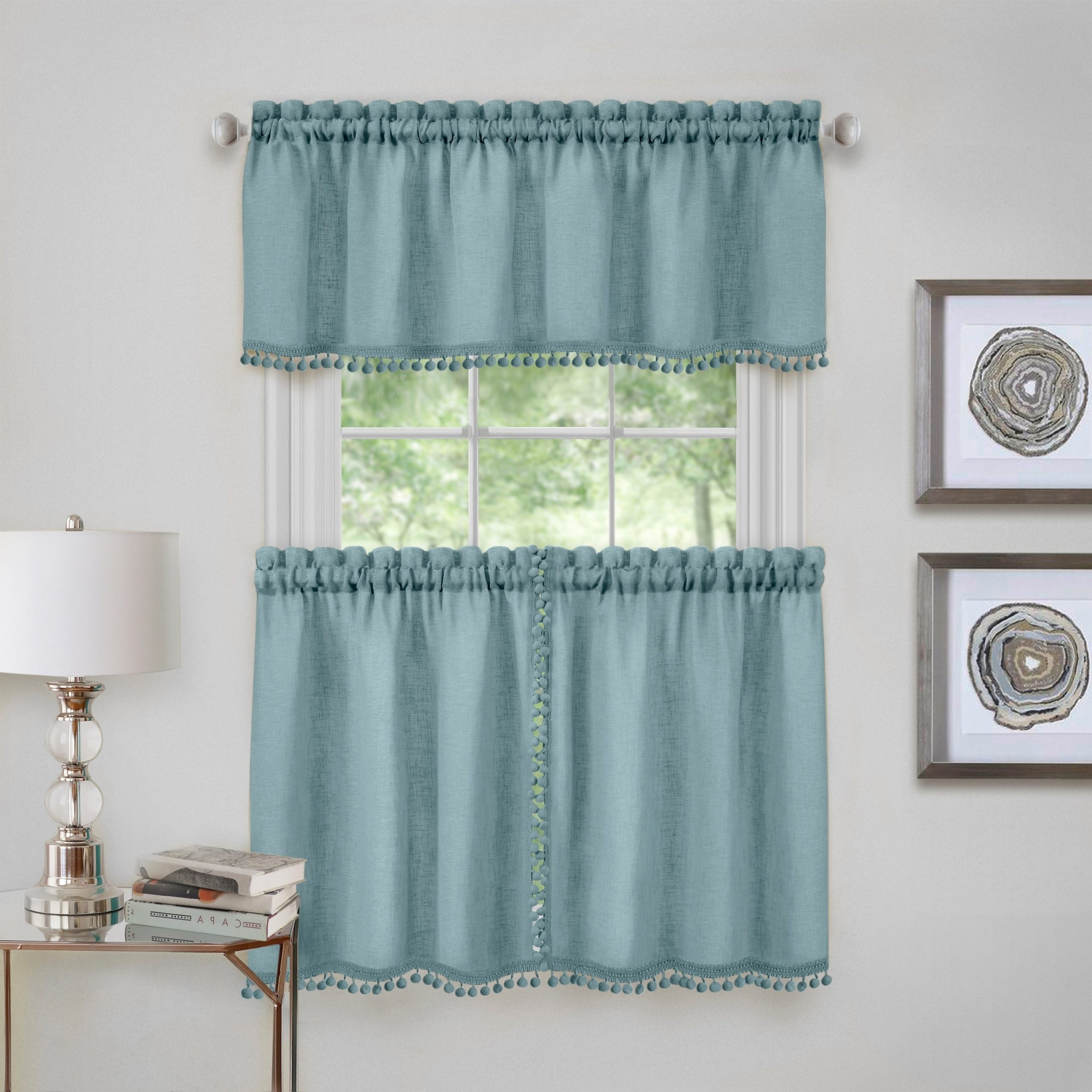 Wallace Window Kitchen Curtain Tier Pair And Valance Set Regarding 2021 Twill 3 Piece Kitchen Curtain Tier Sets (View 13 of 20)