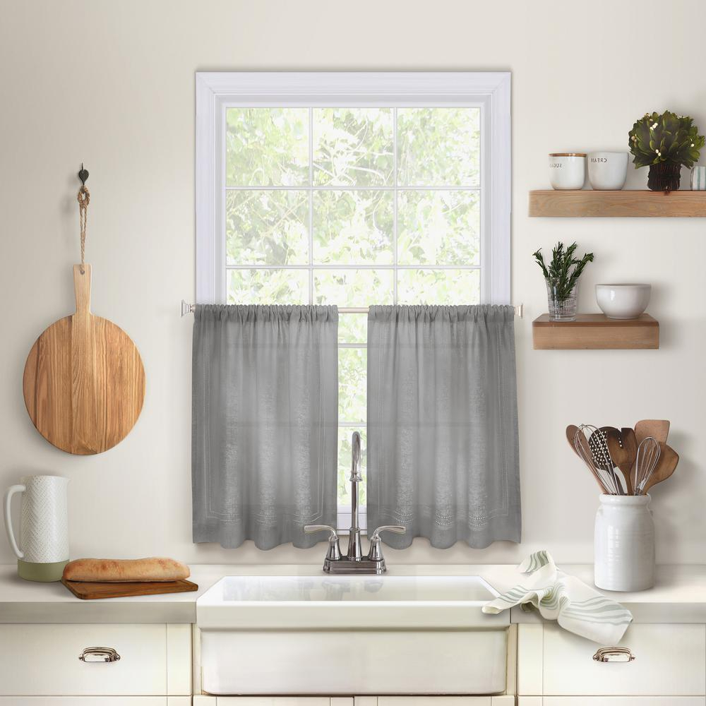 Wallace Window Kitchen Curtain Tiers Intended For Famous Elrene Cameron Kitchen Tier Set Of (View 14 of 20)