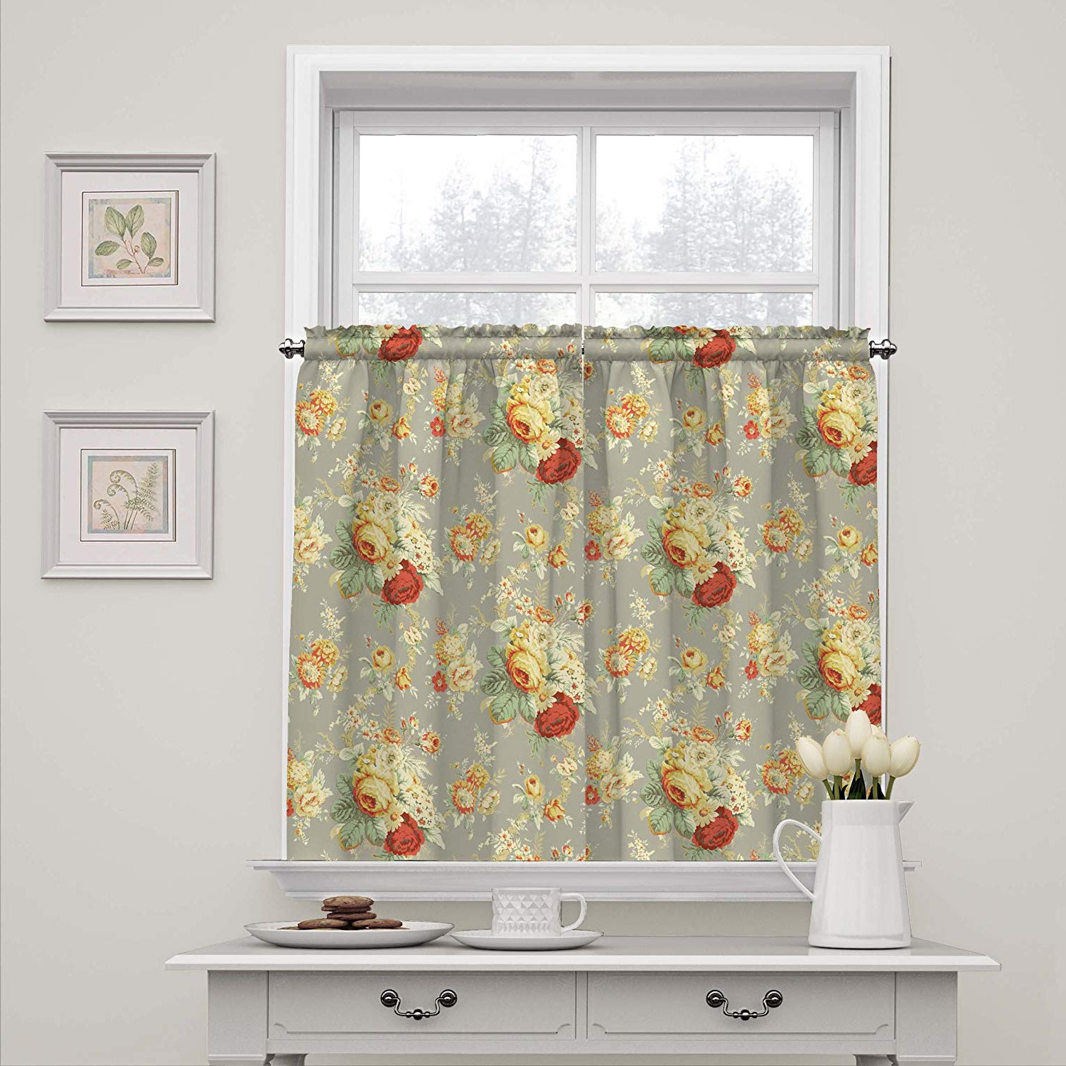 "Waverly Felicite Curtain Tiers For 2020 Waverly Kitchen Curtains Sanctuary Rose 52"" X 36"" Small Panel Tiers Privacy Window Treatment Pair Bathroom, Living Room, Clay (View 13 of 20)"