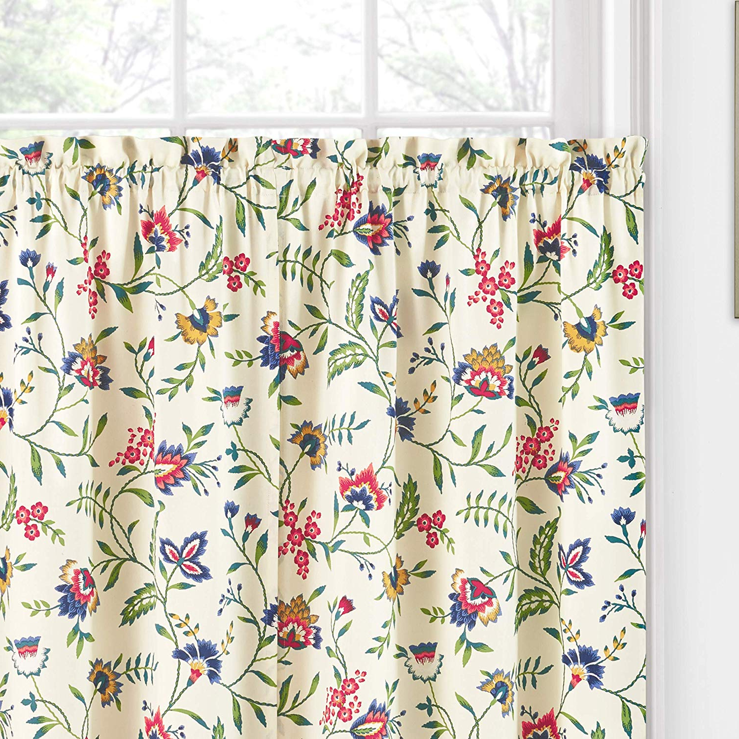 "Waverly Felicite Curtain Tiers For Most Recently Released Waverly Kitchen Curtains For Windows – Carolina Crewel 52"" X 36"" Small Window Panel Tiers Privacy Window Treatment Pair Bathroom, Living Room, (View 17 of 20)"