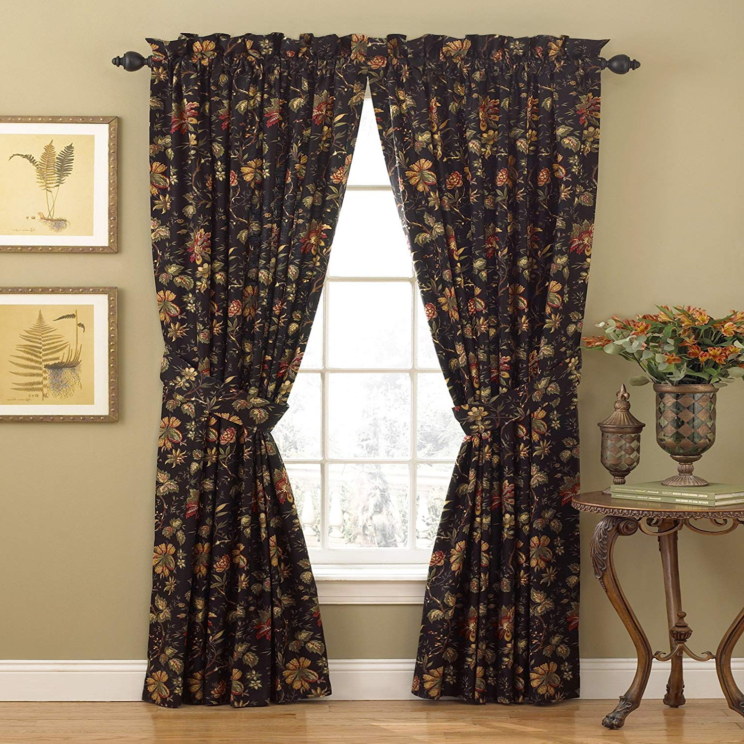 "Waverly Felicite Curtain Tiers Regarding Famous Waverly Curtains For Bedroom – Felicite 50"" X 84"" Decorative Single Panel Rod Pocket Window Treatment Privacy Curtains For Living Room, Noir (View 6 of 20)"
