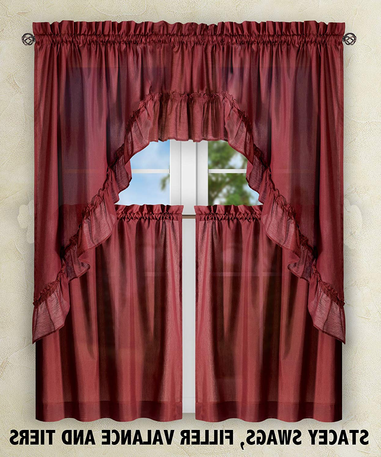 Waverly Kensington Bloom Window Tier Pairs Pertaining To Well Known Ellis Window Curtains Sale – Recipes With More (View 20 of 20)