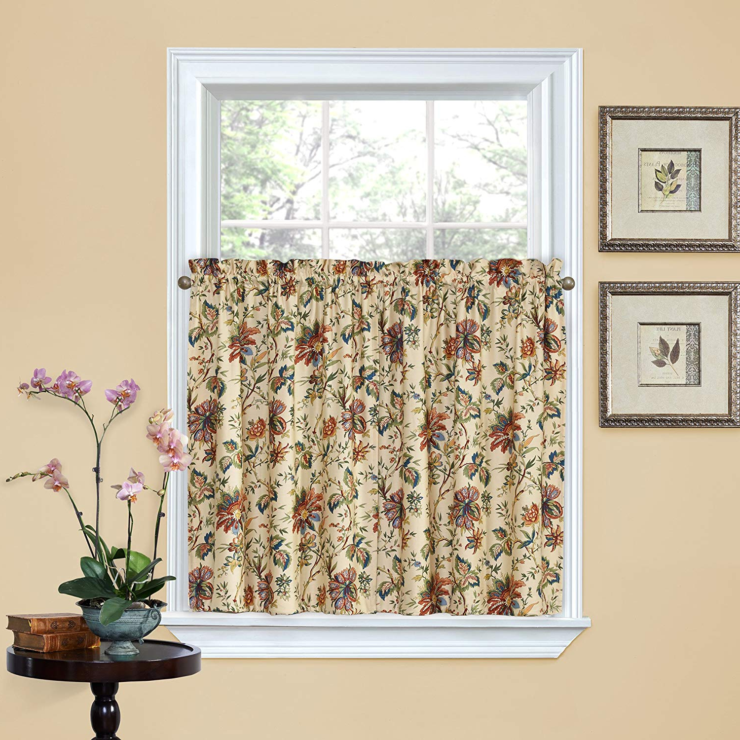 "Waverly Kitchen Curtains Felicite 52"" X 36"" Small Panel Tiers Privacy Window Treatment Pair Bathroom, Living Room, Noir Throughout Current Waverly Felicite Curtain Tiers (View 2 of 20)"