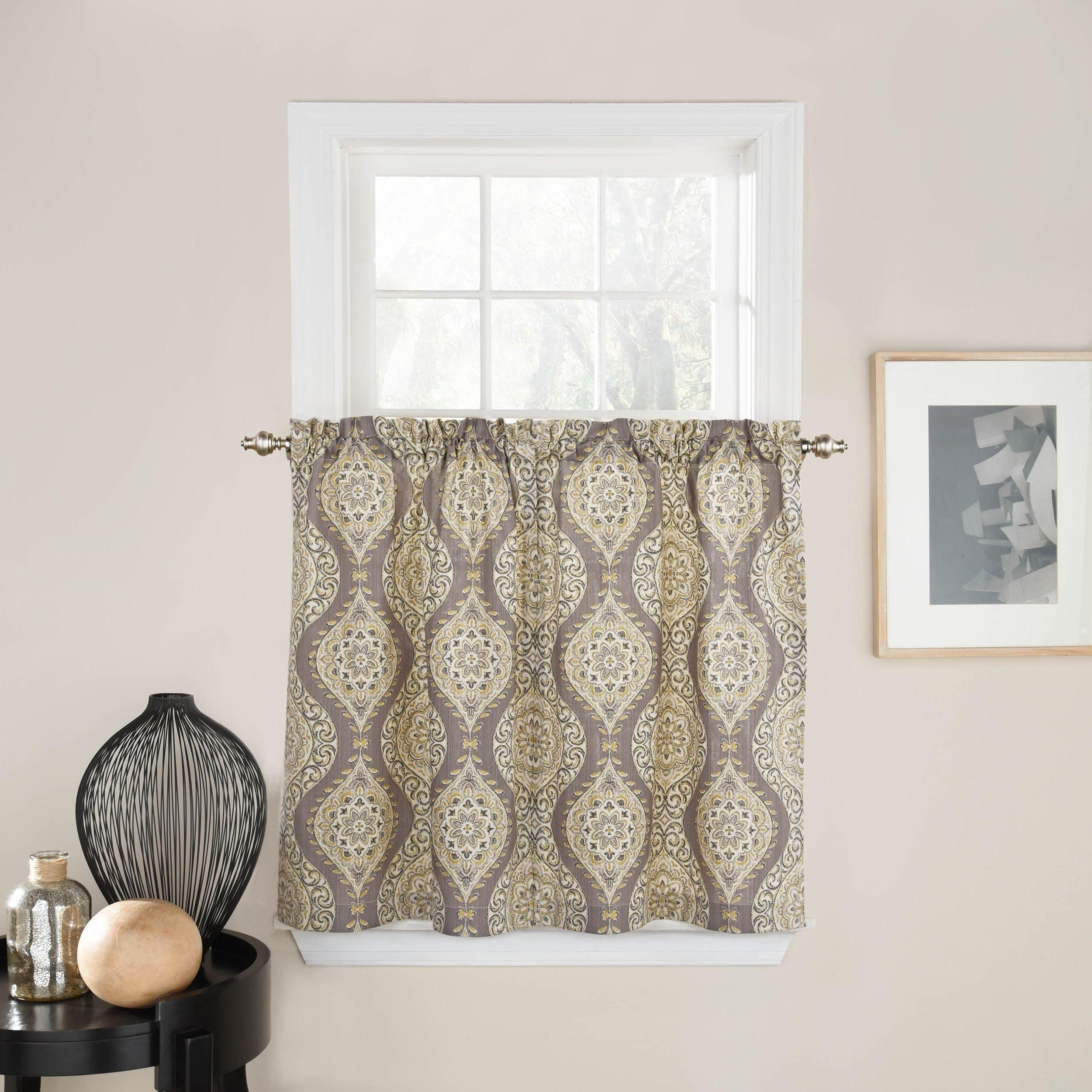 Waverly Moonlight Medallion Window Curtain Tier Pair Regarding 2020 Medallion Window Curtain Valances (View 8 of 20)