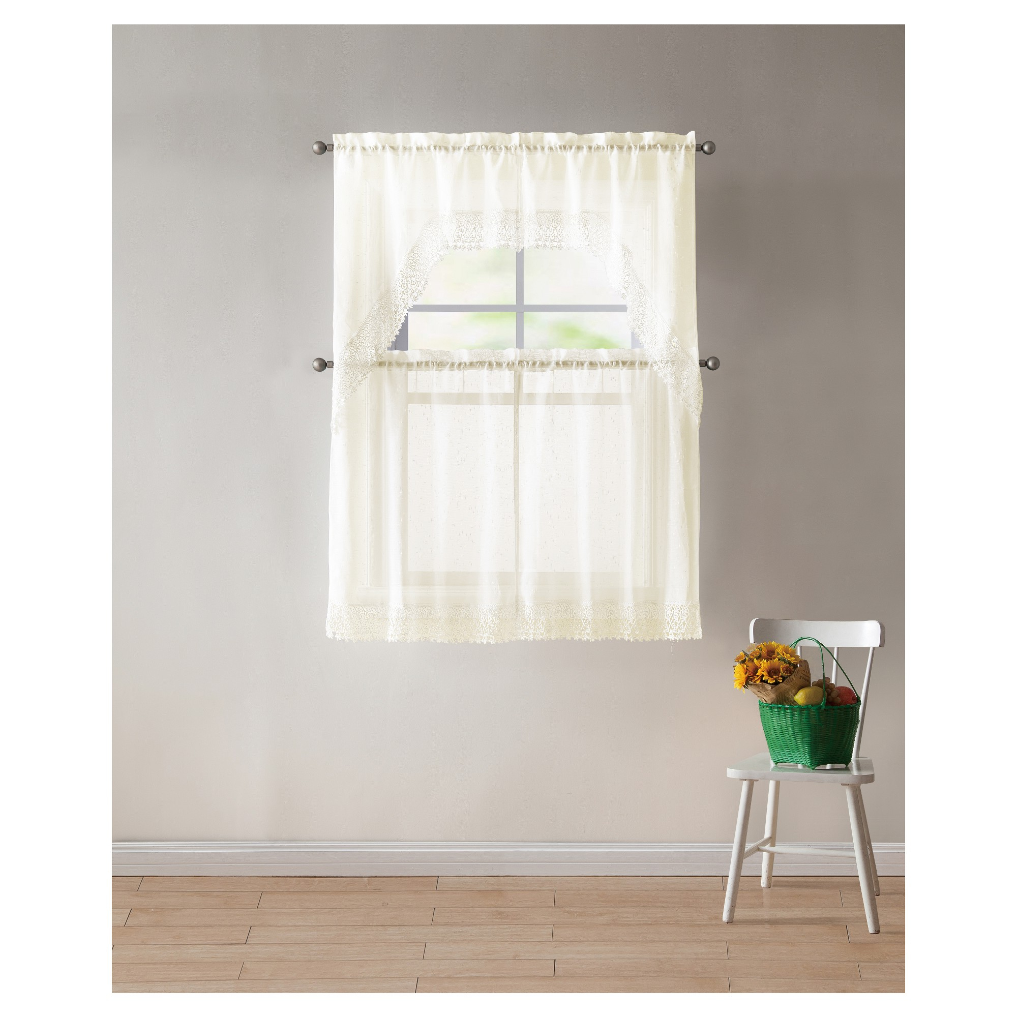 "Well Known 4Pc 27""x36"" Farrah Lace Light Filtering Kitchen Curtain Pertaining To Light Filtering Kitchen Tiers (View 11 of 20)"