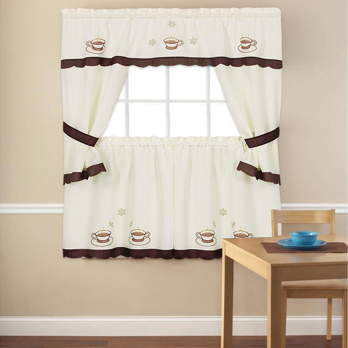 Well Known 5 Piece Burgundy Embroidered Cabernet Kitchen Curtain Sets Intended For Embroidered 'coffee Cup' 5 Piece Kitchen Curtain Set (View 2 of 20)