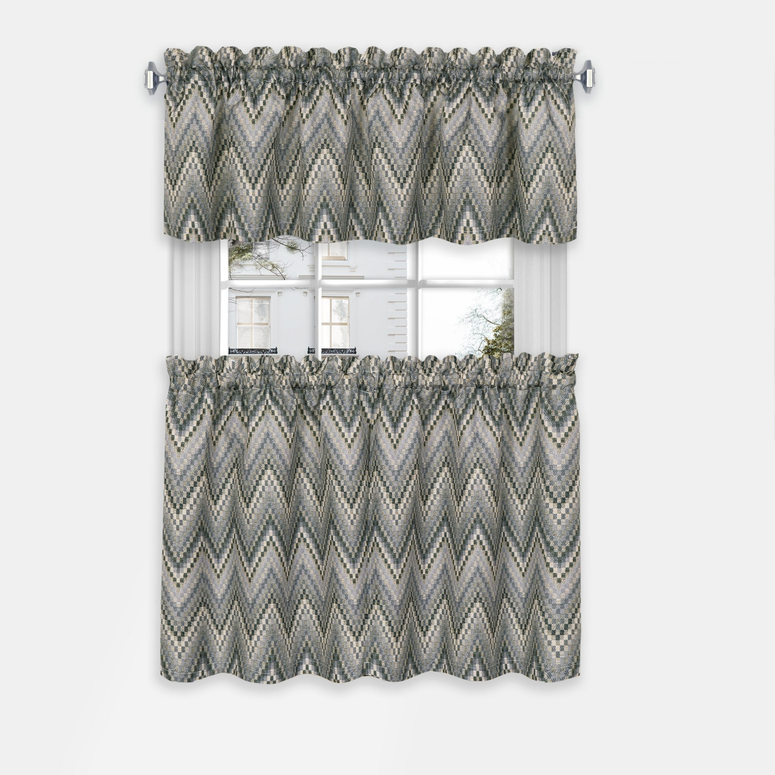 Well Known Achim Avery Window Curtain Tier Pair And Valance Set With Regard To Grey Window Curtain Tier And Valance Sets (View 12 of 20)