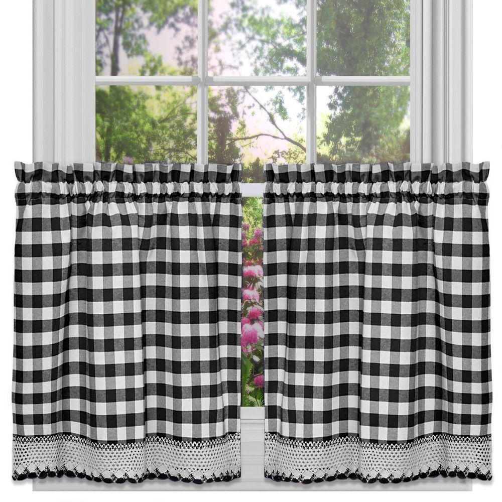 Well Known Achim Semi Opaque Buffalo Check Black Poly/cotton Tier Pair Curtain 58 In. W X 36 In (View 6 of 20)