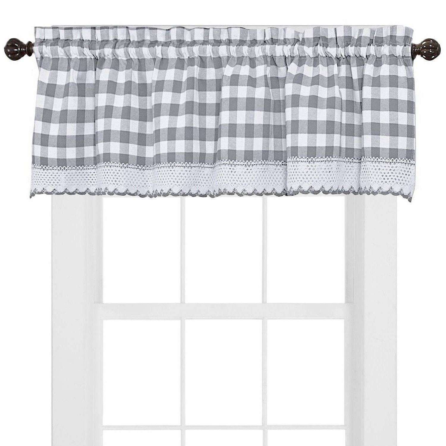 Well Known Alluring Black And White Checkered Kitchen Valance Valances Pertaining To Classic Black And White Curtain Tiers (View 8 of 20)