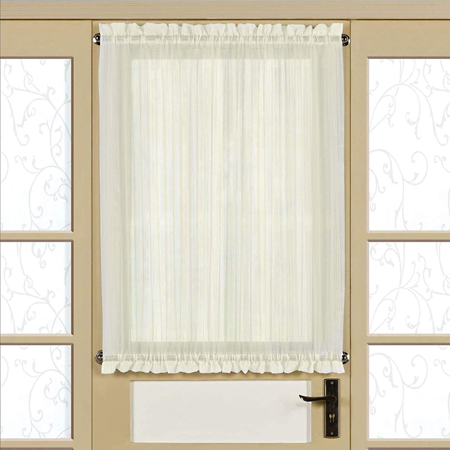 Well Known Amazon: Bed Bath N More Semi Sheer 40 Inch Tailored Door With Micro Striped Semi Sheer Window Curtain Pieces (View 15 of 20)