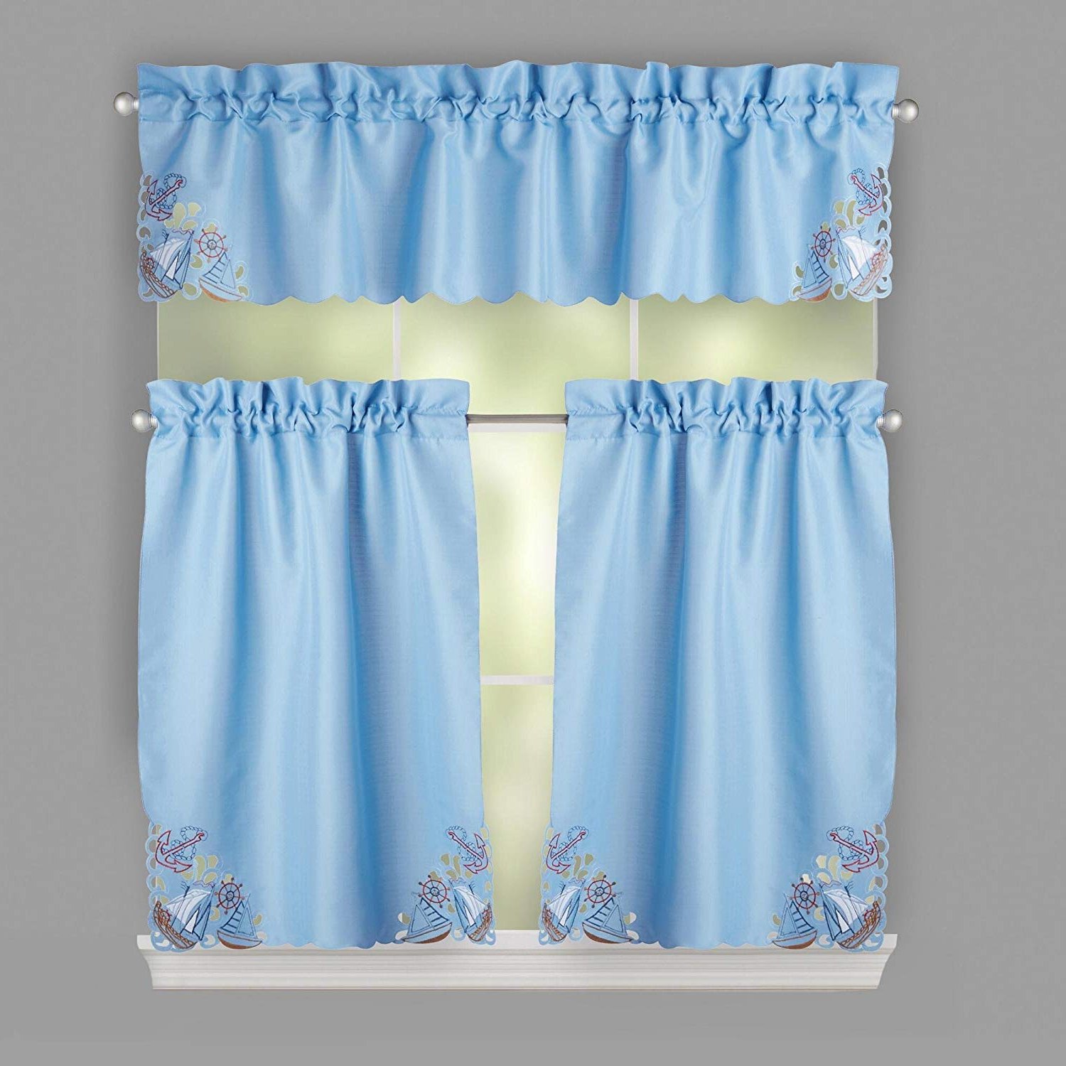 Well Known Amazon: Nantucket Home Coastal Cutwork Embroidered Regarding Coastal Tier And Valance Window Curtain Sets (View 20 of 20)