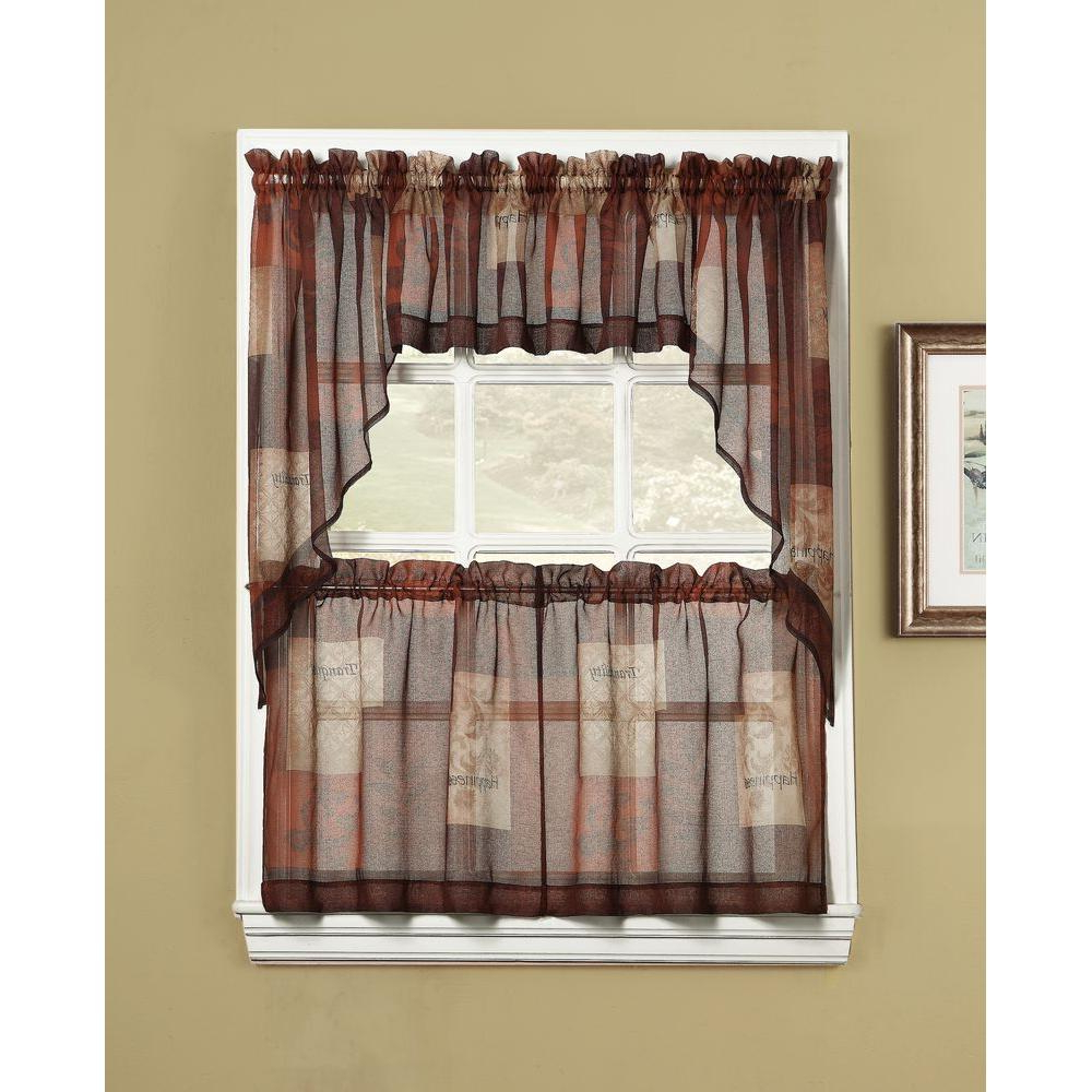Well Known Apple Orchard Printed Kitchen Tier Sets Throughout Lichtenberg Sheer Multi Eden Printed Textured Sheer Kitchen Curtain Tiers, 56 In. W X 36 In (View 12 of 20)