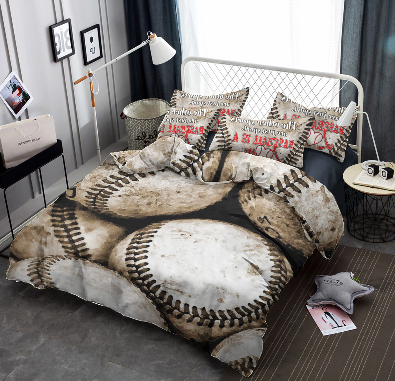 Well Known Baseball Tl300704b Tdt Bedding Sets – Kaylee And Tepid With Regard To Complete Cottage Curtain Sets With An Antique And Aubergine Grapvine Print (View 6 of 20)