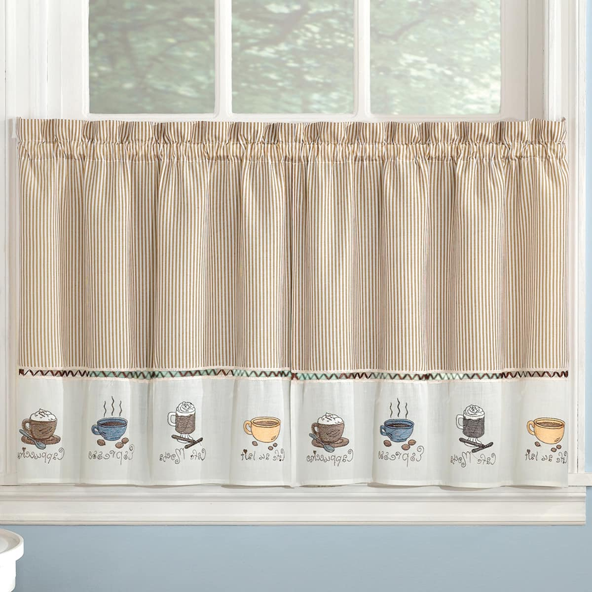 Well Known Bed Bath N More Favorite Coffee Drinks Embroidered Window Treatments  Valance And Tiers Within Coffee Drinks Embroidered Window Valances And Tiers (View 18 of 20)