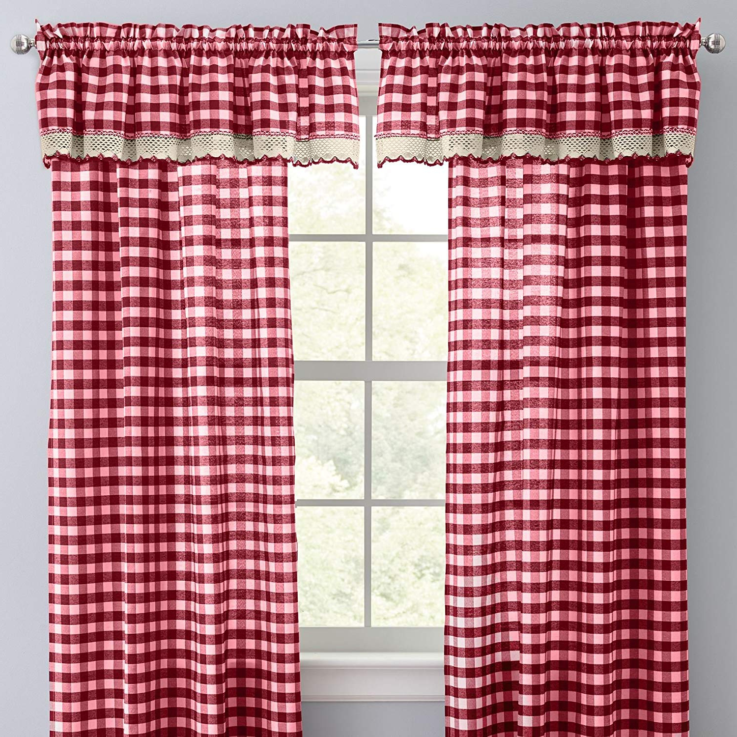 Well Known Brylanehome Buffalo Plaid Curtain – Burgundy, 42i W 84i L With Burgundy Cotton Blend Classic Checkered Decorative Window Curtains (View 5 of 20)