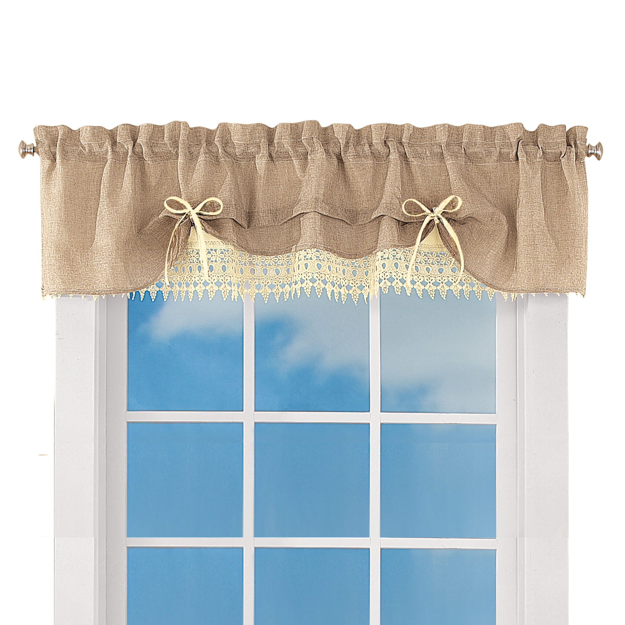 Well Known Burlap Lace Curtain Valance And Tiers Pertaining To Floral Lace Rod Pocket Kitchen Curtain Valance And Tiers Sets (View 20 of 20)