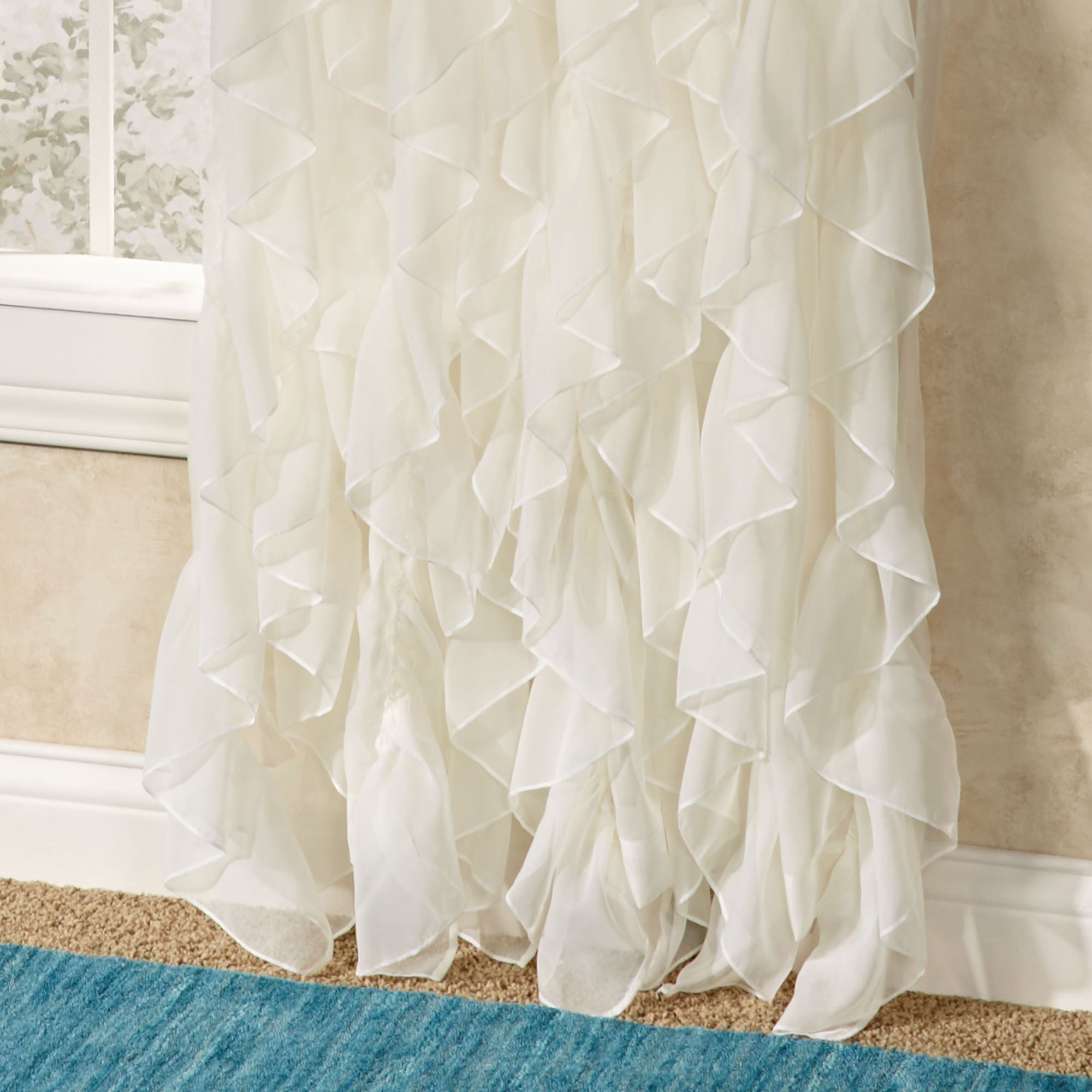 Well Known Cascade Sheer Voile Ruffled Window Treatment Throughout Chic Sheer Voile Vertical Ruffled Window Curtain Tiers (View 18 of 20)