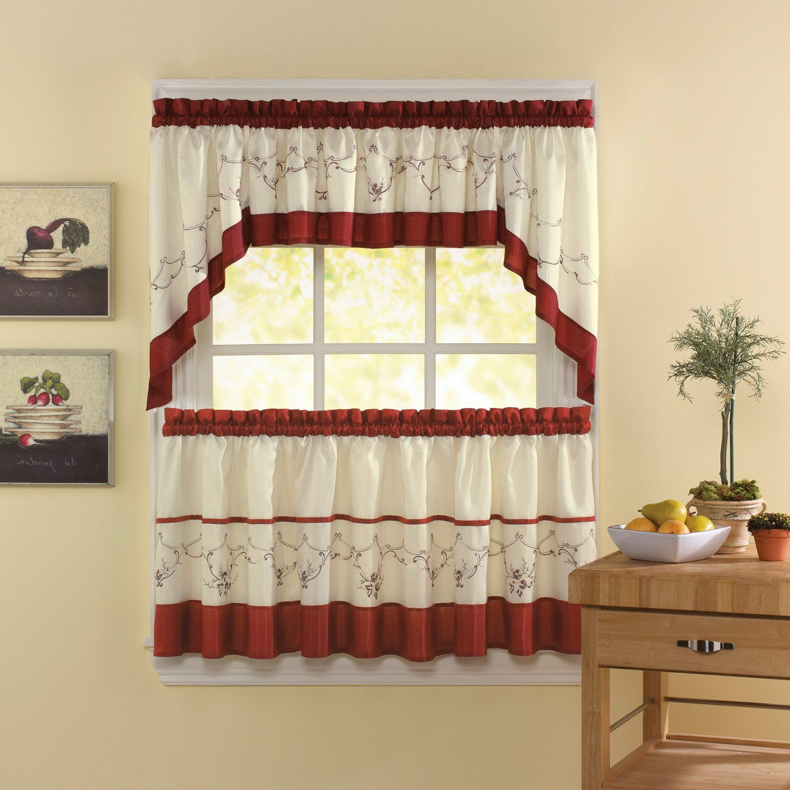 Well Known Chf Industries Grace Tailored Kitchen Curtain Set – Curtains For Grace Cinnabar 5 Piece Curtain Tier And Swag Sets (View 9 of 20)