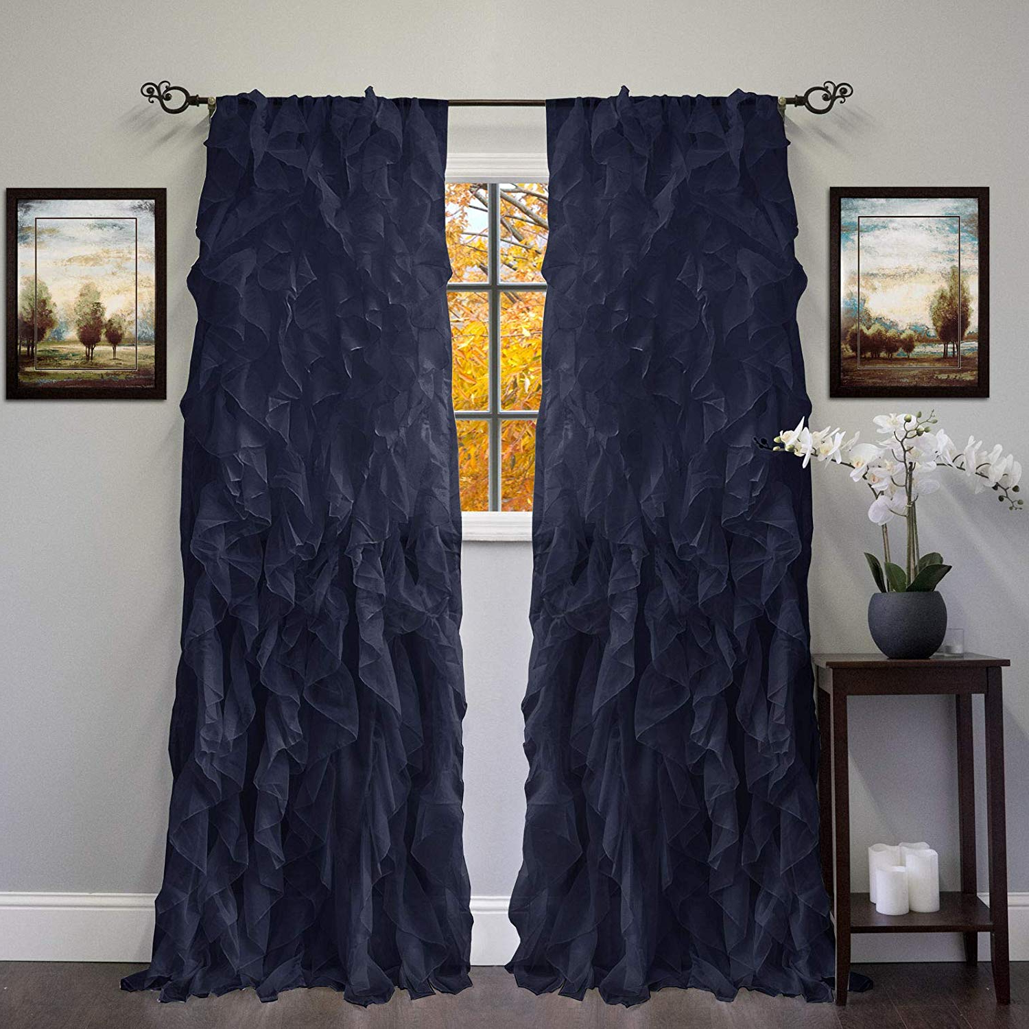Well Known Chic Sheer Voile Vertical Ruffled Window Curtain Tiers Regarding Amazon: Dn Lin New Chic Sheer Voile Vertical Ruffled (View 3 of 20)