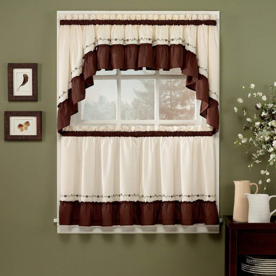 Featured Photo of Chocolate 5 Piece Curtain Tier And Swag Sets