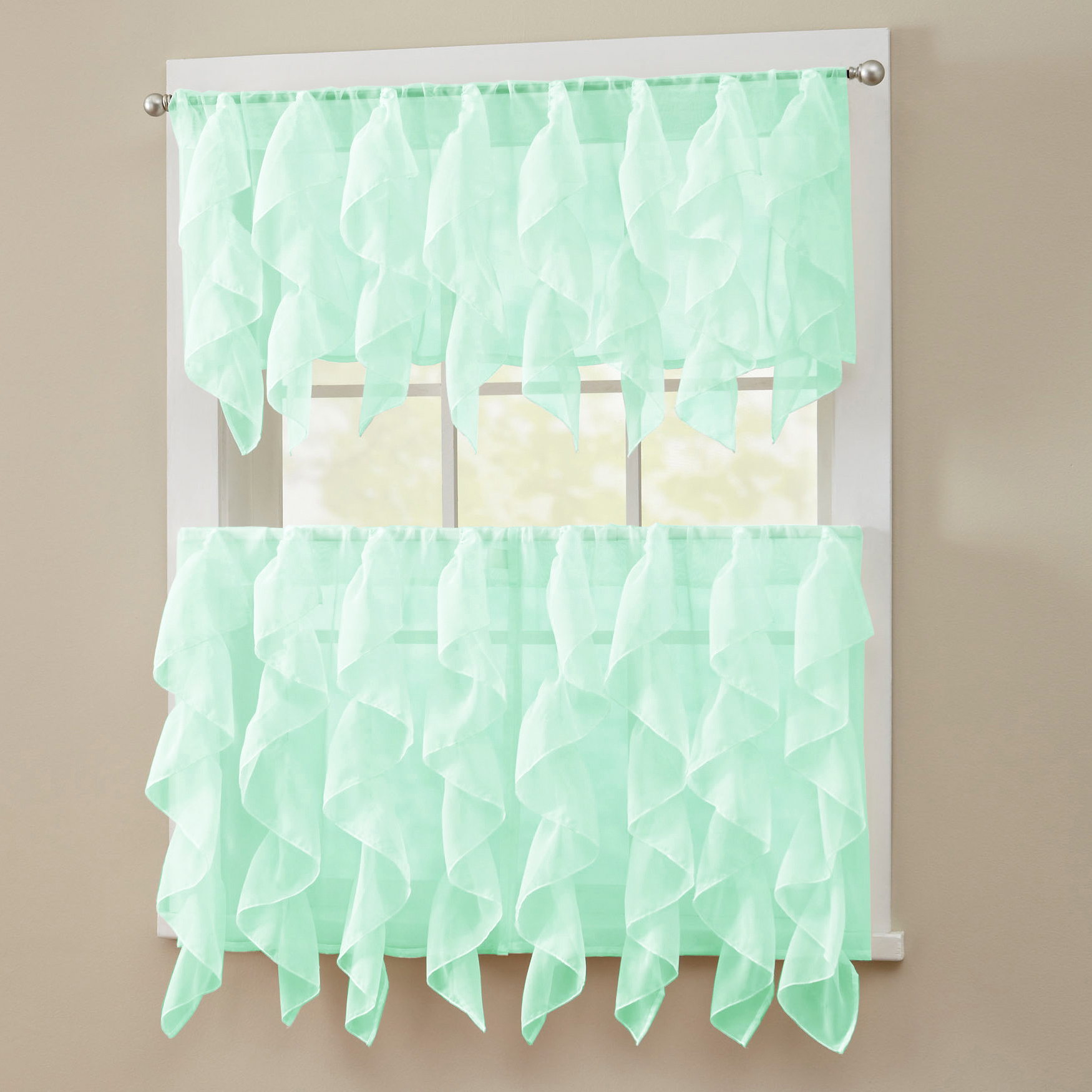 Well Known Details About Sheer Voile Vertical Ruffle Window Kitchen Curtain Tiers Or Valance Mint Within Maize Vertical Ruffled Waterfall Valance And Curtain Tiers (View 9 of 20)