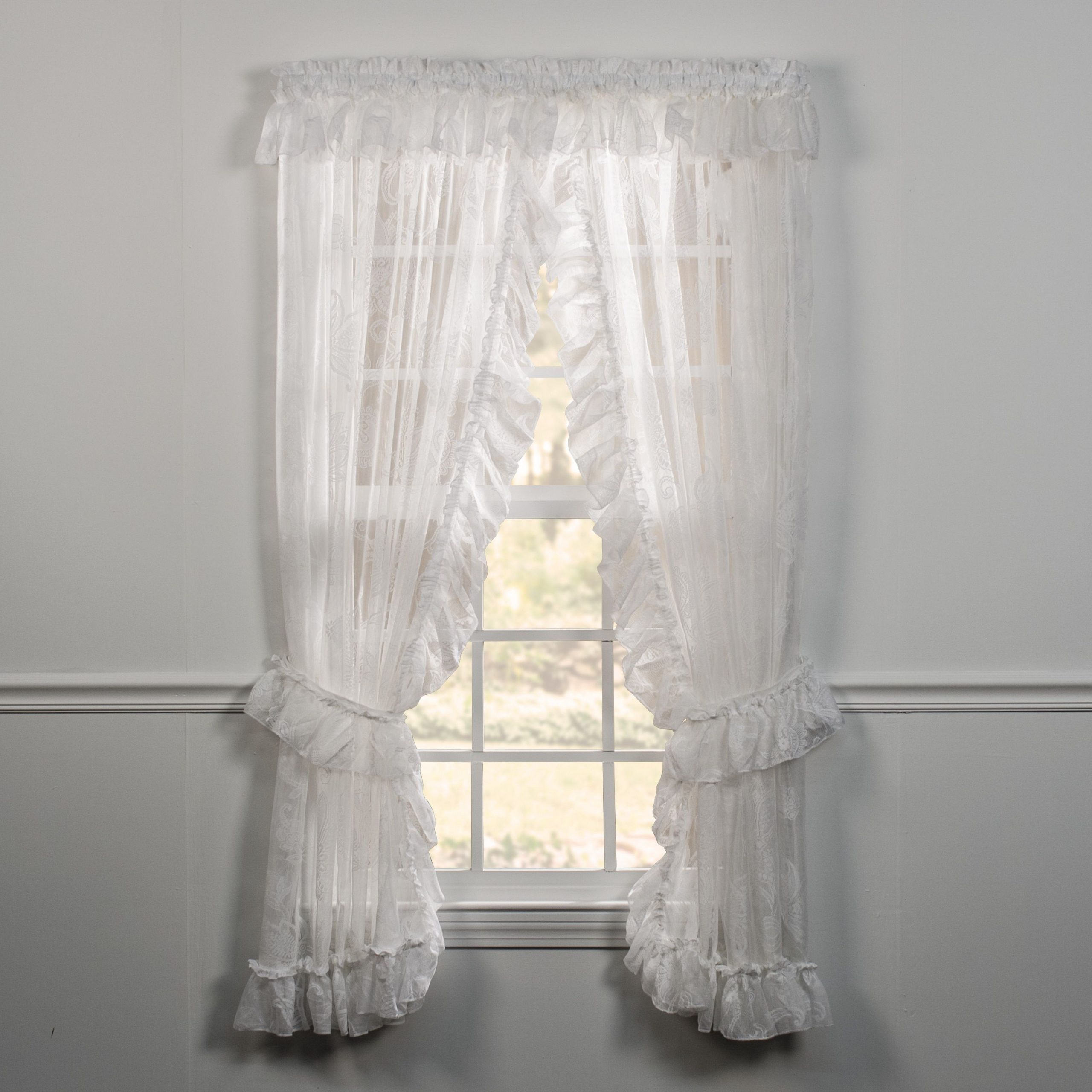 Well Known Ellis Curtain Beverly Lace Priscilla Curtain Pair With Ties With Elegant White Priscilla Lace Kitchen Curtain Pieces (View 8 of 20)