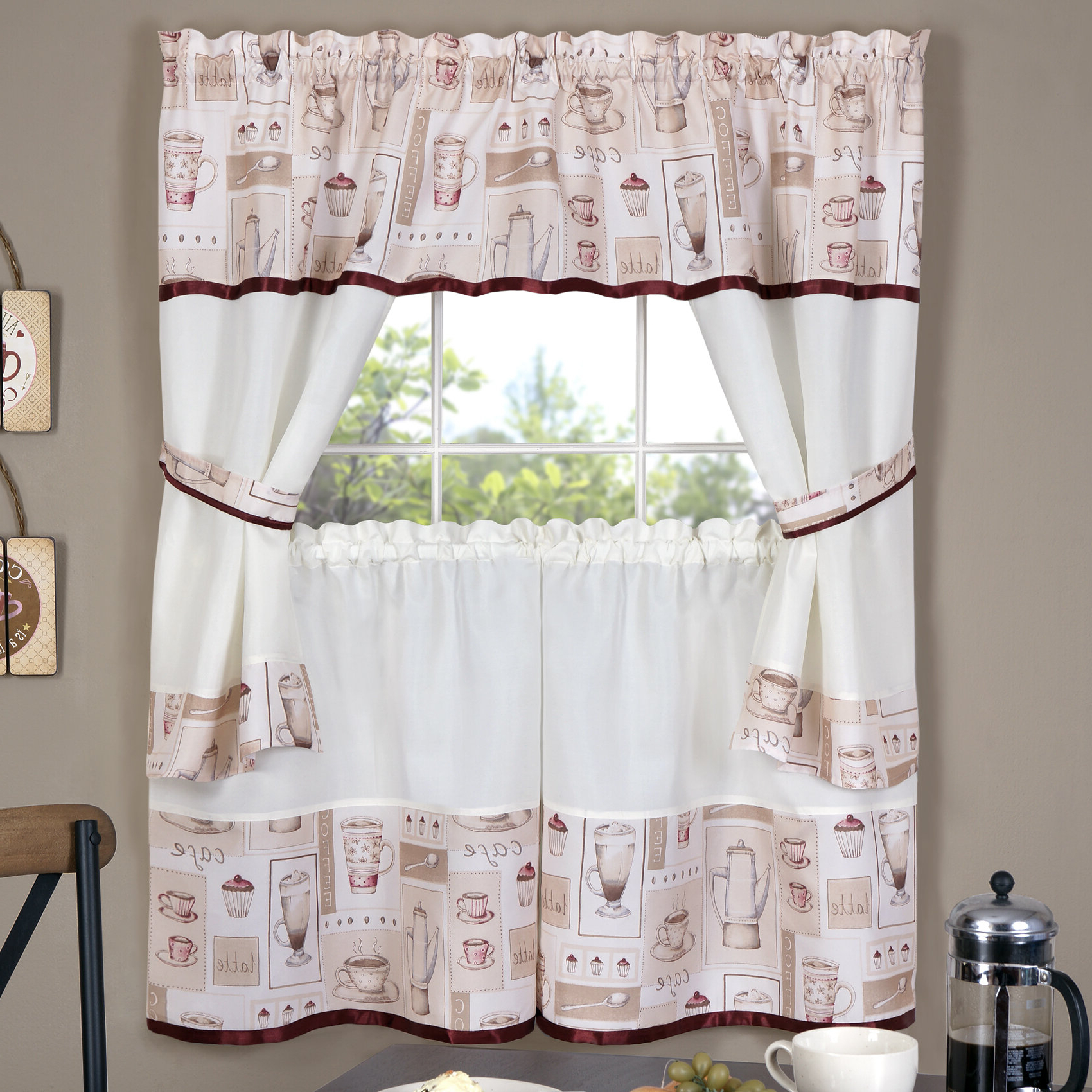 Well Known Embroidered 'coffee Cup' 5 Piece Kitchen Curtain Sets Within Depierro Cappuccino Embellished Cottage Kitchen Curtain (View 8 of 20)