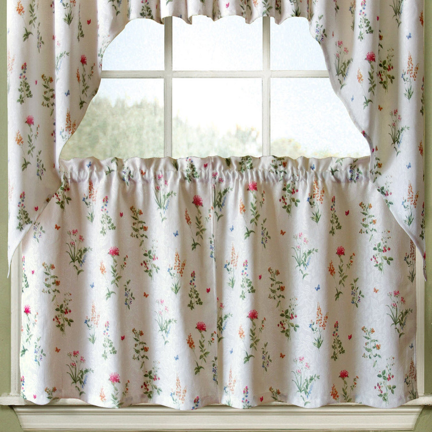 Well Known Embroidered Ladybugs Window Curtain Pieces With Regard To Vibrant Floral Garden Motif Jacquard Window Curtain Pieces (View 3 of 20)
