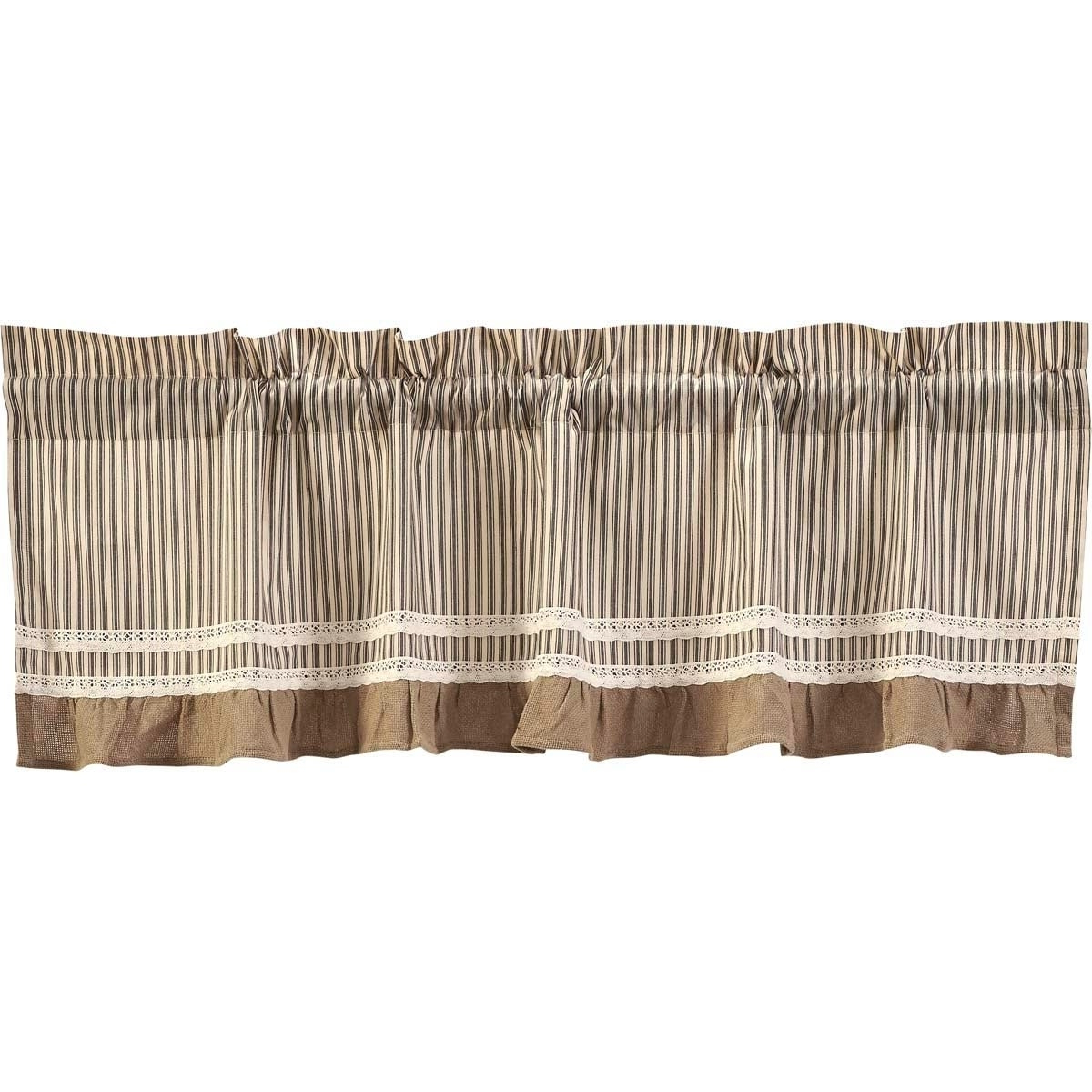 Well Known Farmhouse Stripe Kitchen Tier Pairs Regarding Details About Farmhouse Kitchen Curtains Vhc Kendra Stripe Valance Rod (View 18 of 20)