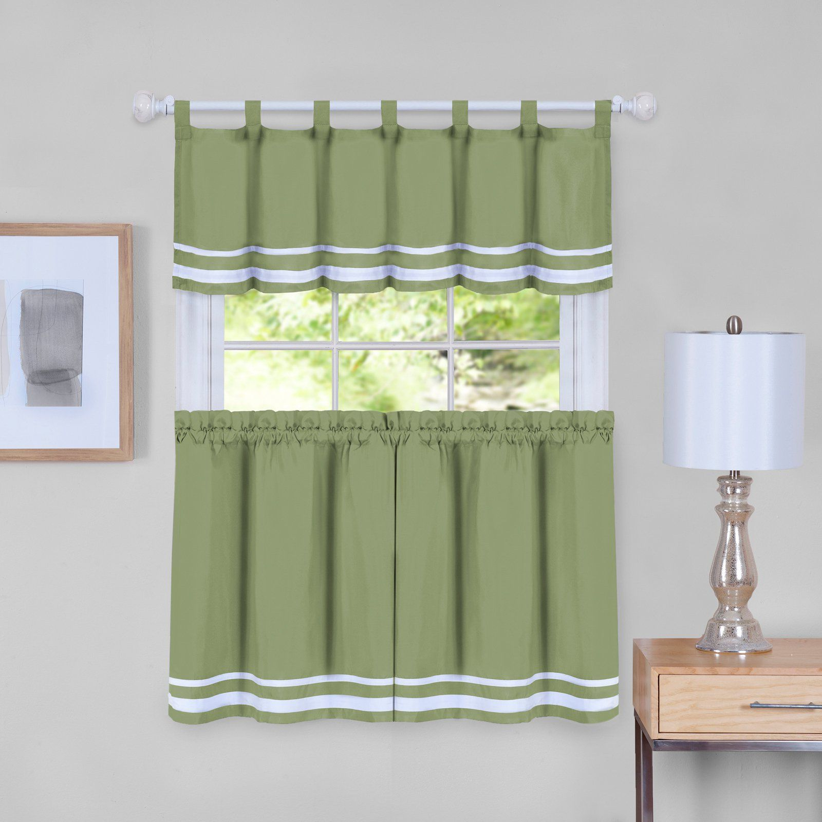 Well Known Forest Valance And Tier Pair Curtains For Achim Dakota Window Curtain Tier Pair And Valance Set (View 12 of 20)