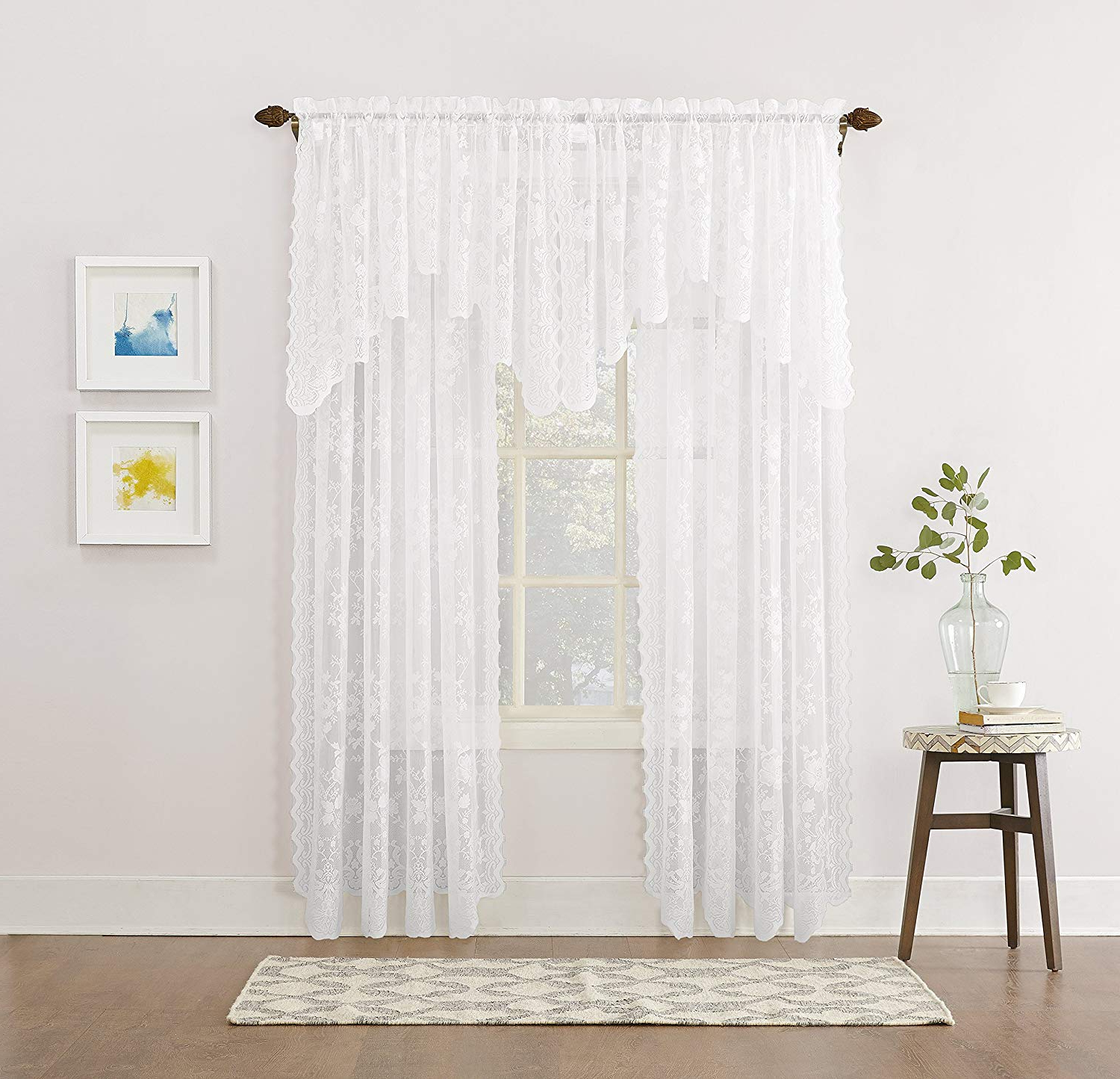 Well Known Gorgeous Valances Window Treatments – Recipes With More Intended For Class Blue Cotton Blend Macrame Trimmed Decorative Window Curtains (View 12 of 17)