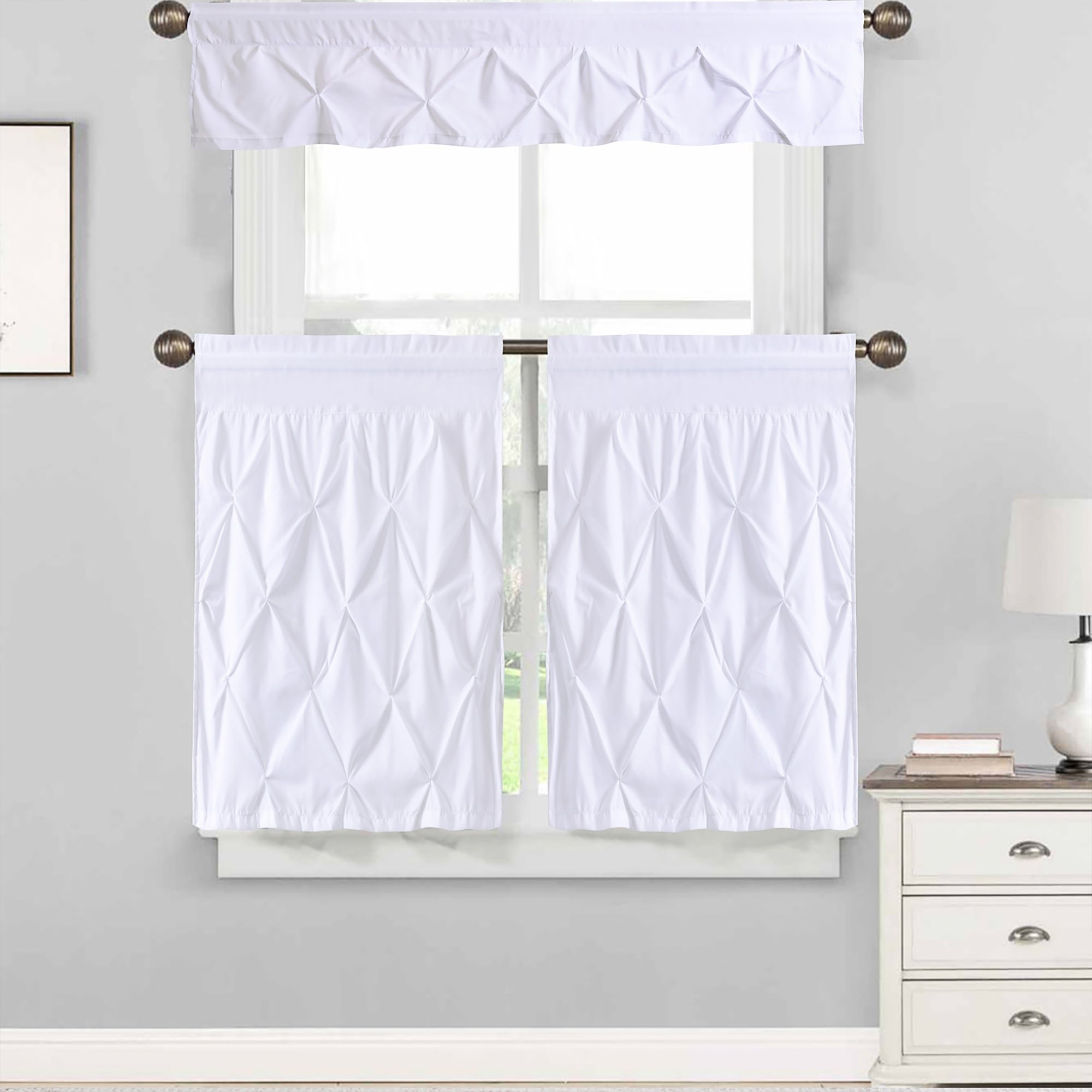 "Well Known Hudson Pintuck Window Curtain Valances In Hudson Pintuck Window Curtain Tier And Valance Set (24""l Or 36""l) White (View 3 of 20)"