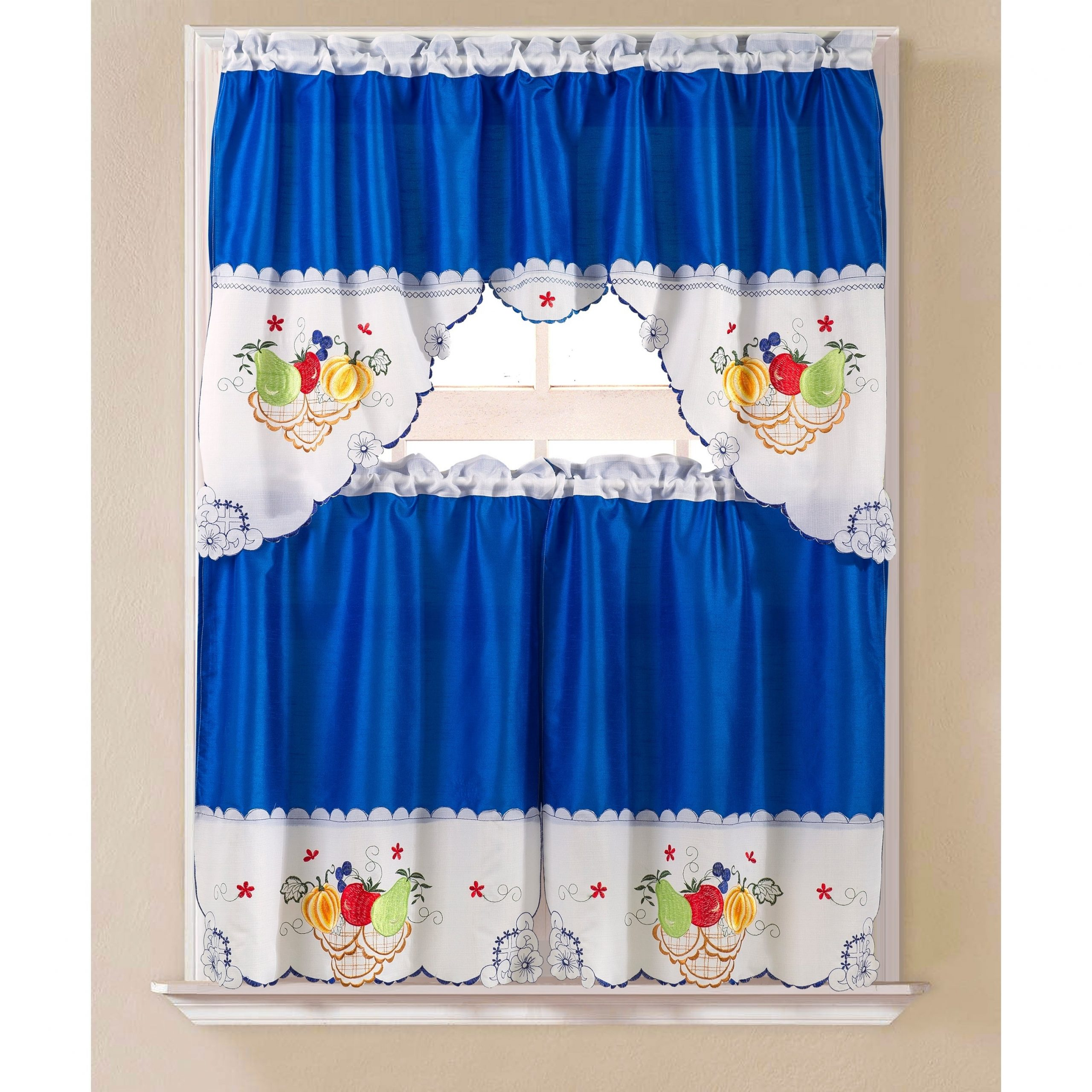 Well Known Imperial Flower Jacquard Tier And Valance Kitchen Curtain Sets With Porch & Den Eastview Faux Silk 3 Piece Kitchen Curtain Set (View 4 of 20)