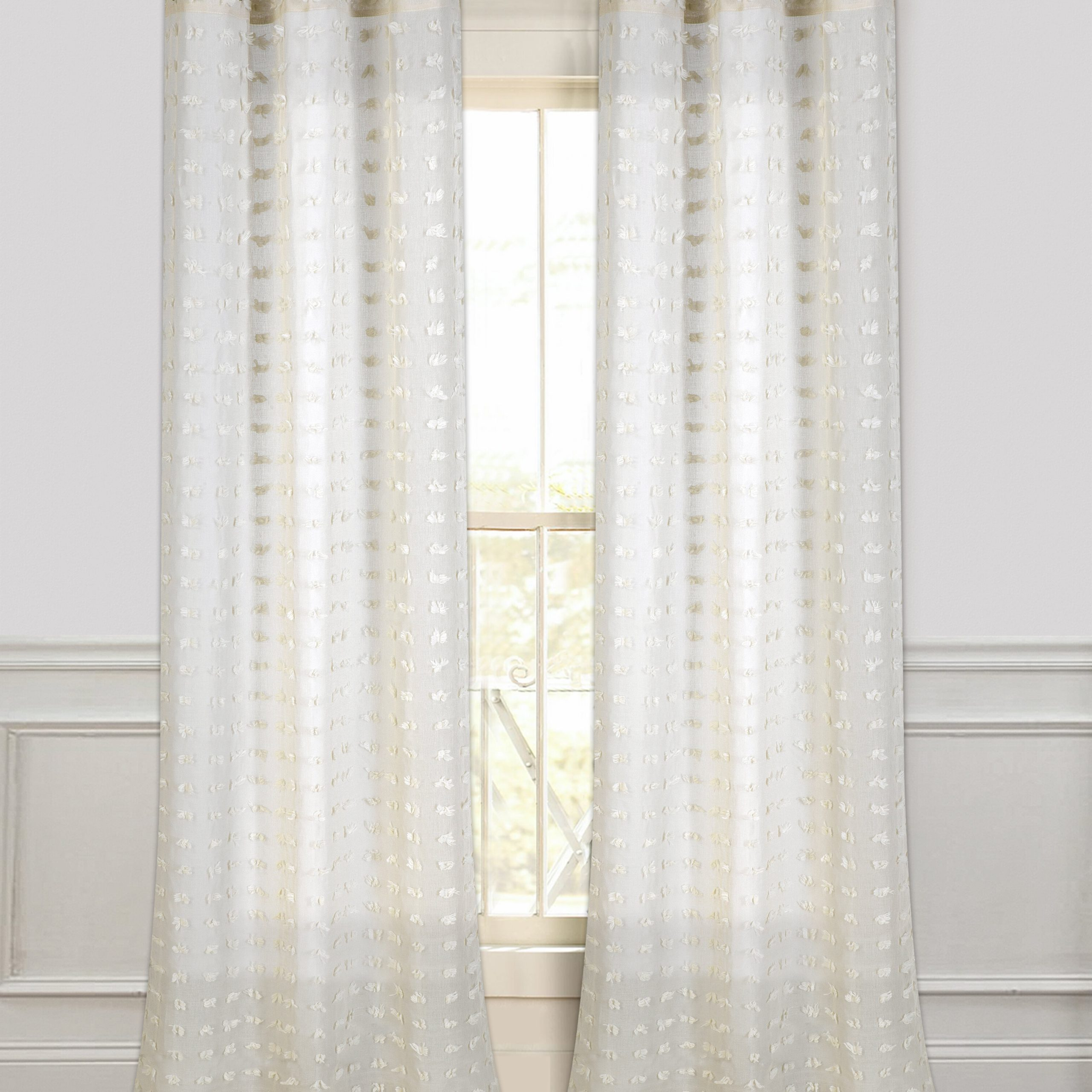 Well Known Ivory Micro Striped Semi Sheer Window Curtain Pieces Pertaining To Arielle Solid Semi Sheer Grommet Curtain Panels (View 20 of 20)
