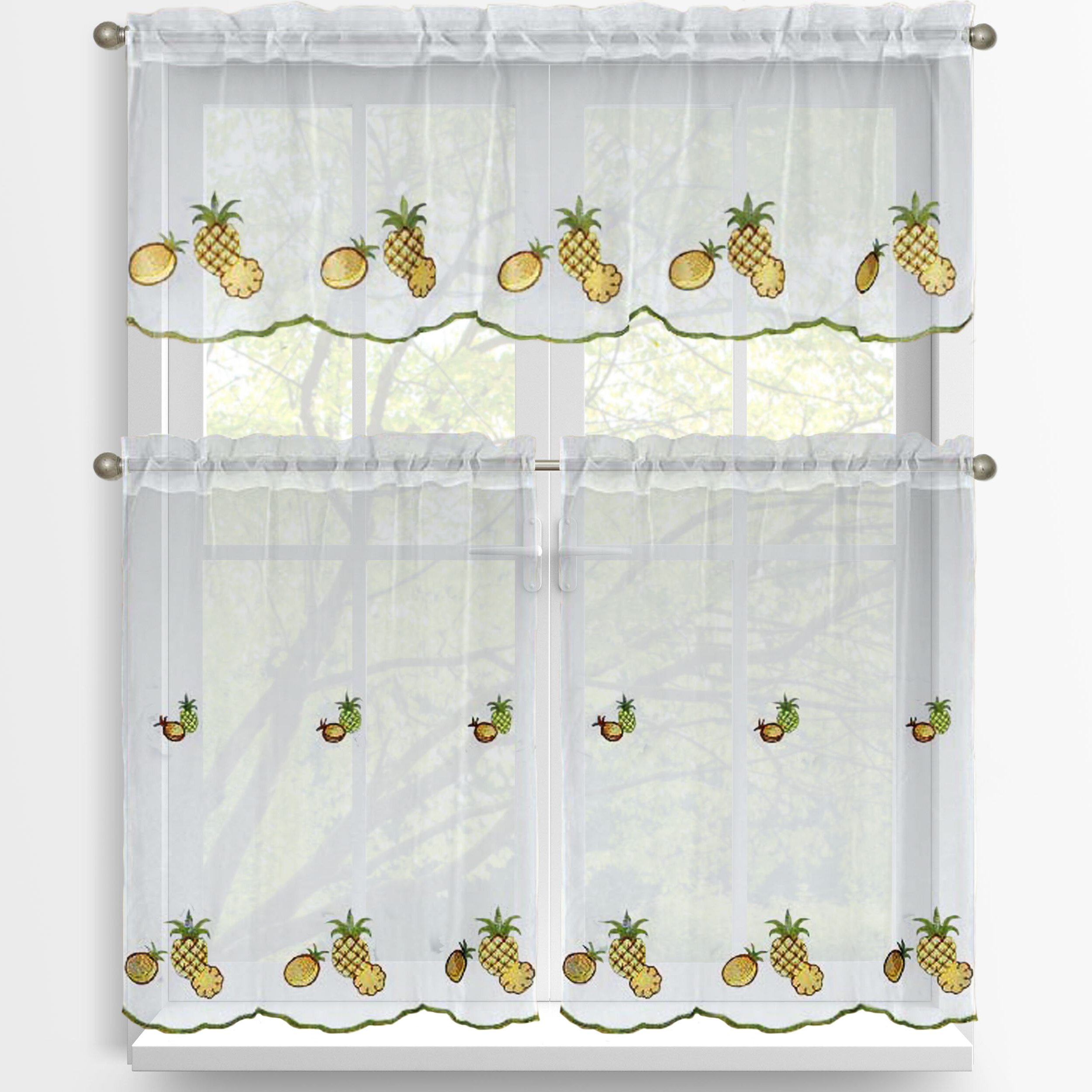 Well Known Kitchen Curtain Tiers Regarding Pineapple 3 Piece Embroidered Kitchen Tier And Valance Set (View 19 of 20)