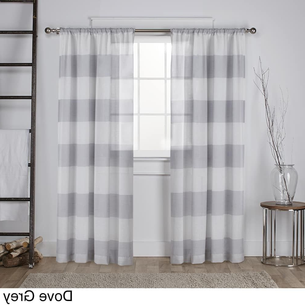 Well Known Linen Stripe Rod Pocket Sheer Kitchen Tier Sets With Ati Home Darma Semi Sheer Stripe Linen Blend Curtain Panel (View 14 of 20)
