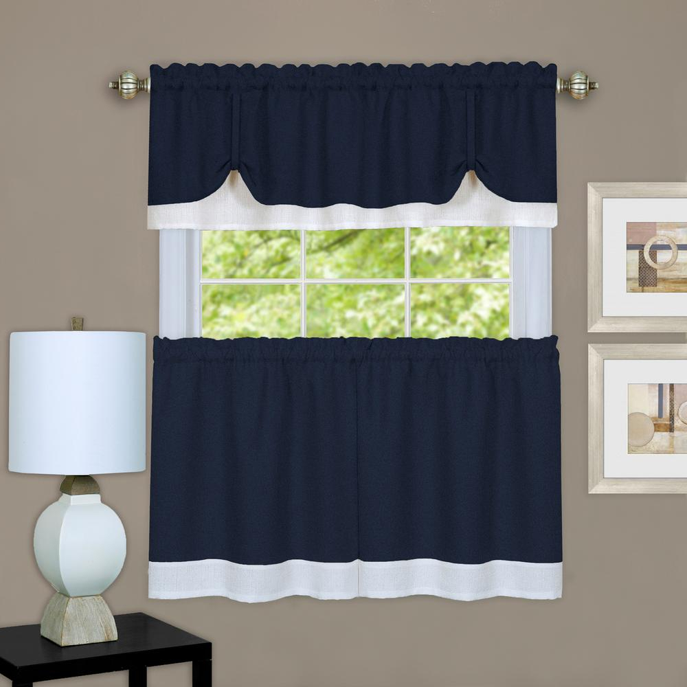 Well Known Live, Love, Laugh Window Curtain Tier Pair And Valance Sets Inside Achim Darcy Navy/white Polyester Tier And Valance Curtain Set – 58 In. W X 36 In (View 19 of 20)
