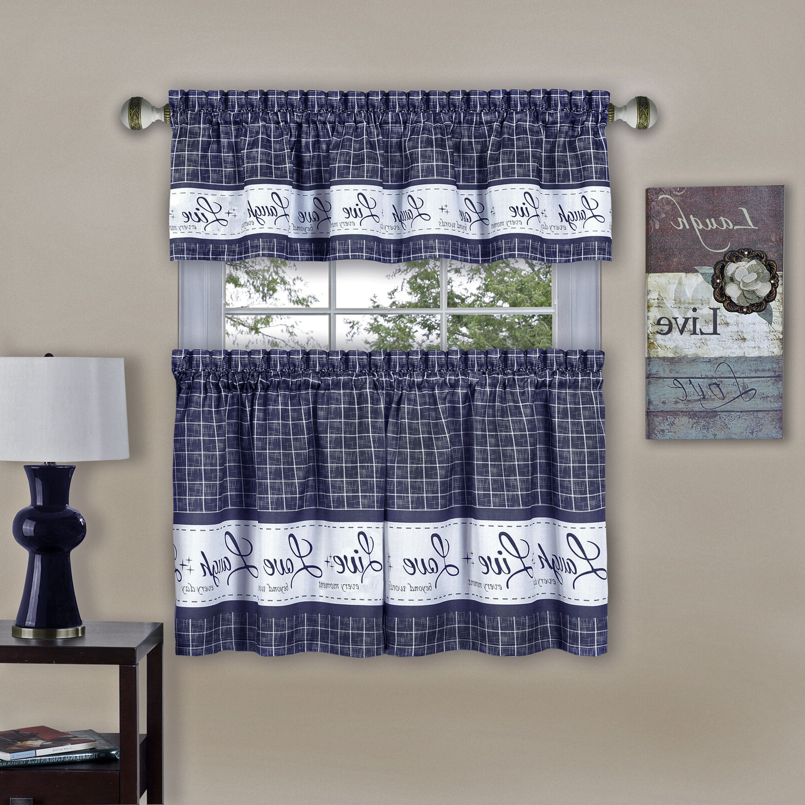 Well Known Lodge Plaid 3 Piece Kitchen Curtain Tier And Valance Sets For Country Gingham Check Live Laugh Love 3 Piece Café Plaid (View 20 of 20)