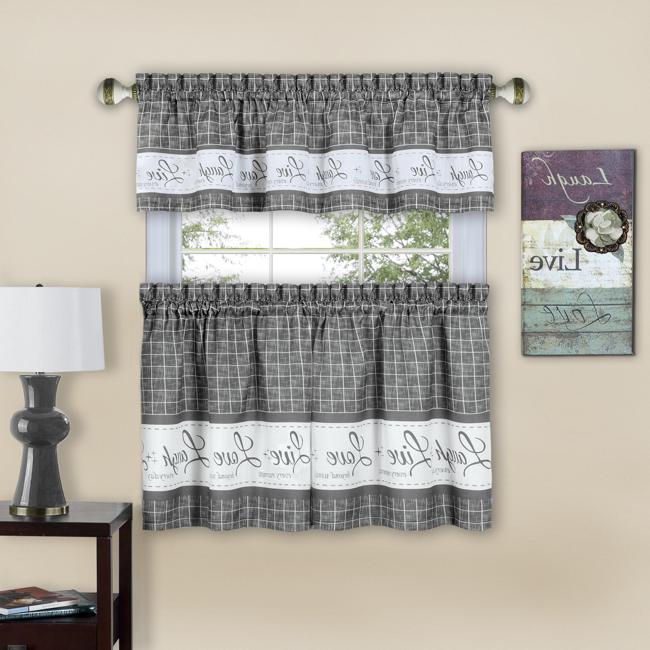 Well Known Lodge Plaid 3 Piece Kitchen Curtain Tier And Valance Sets For Lillian Live Laugh Love Plaid Window Valance (View 17 of 20)